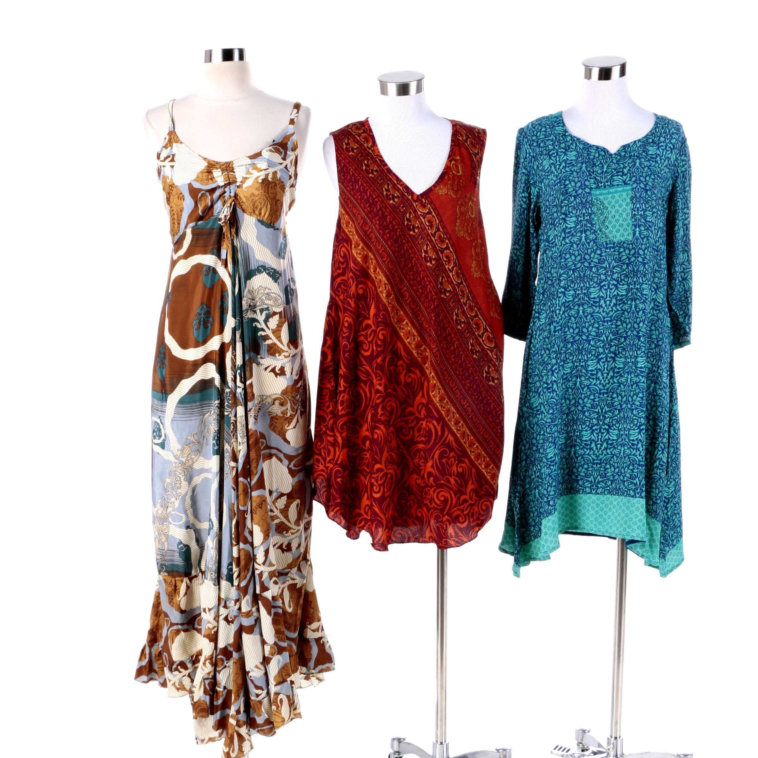 Aller Simplement Printed Dresses Made From Upcycled Vintage Saris