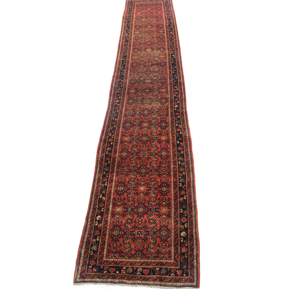 3' x 12' Vintage Hand-Knotted Persian Lilihan Sarouk Runner