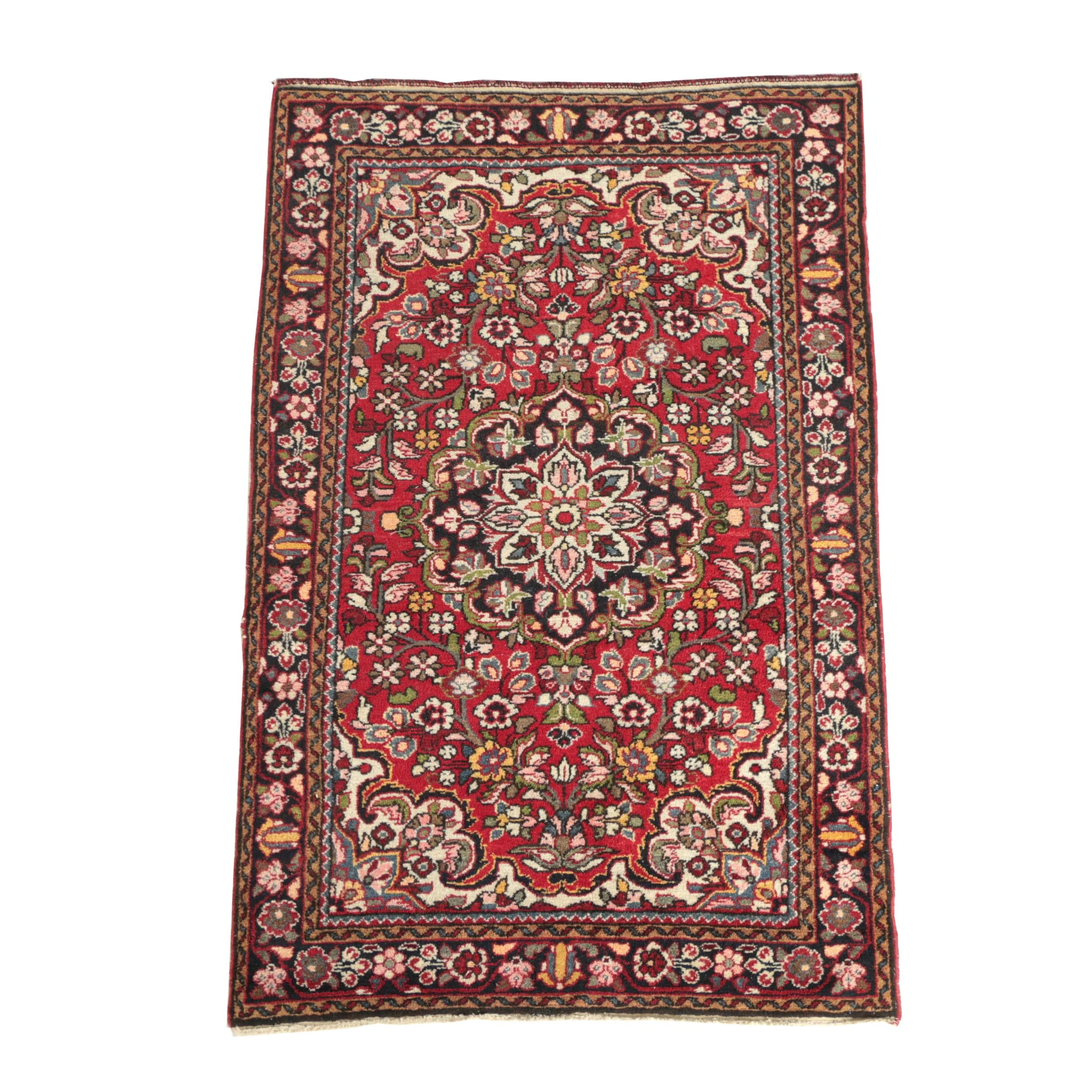 Semi-Antique Hand-Knotted Persian Hamadan Area Rug
