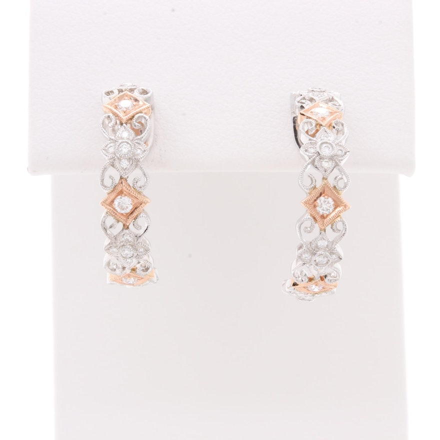 Shane Co 14k White And Rose Gold Diamond C Hoop Earrings