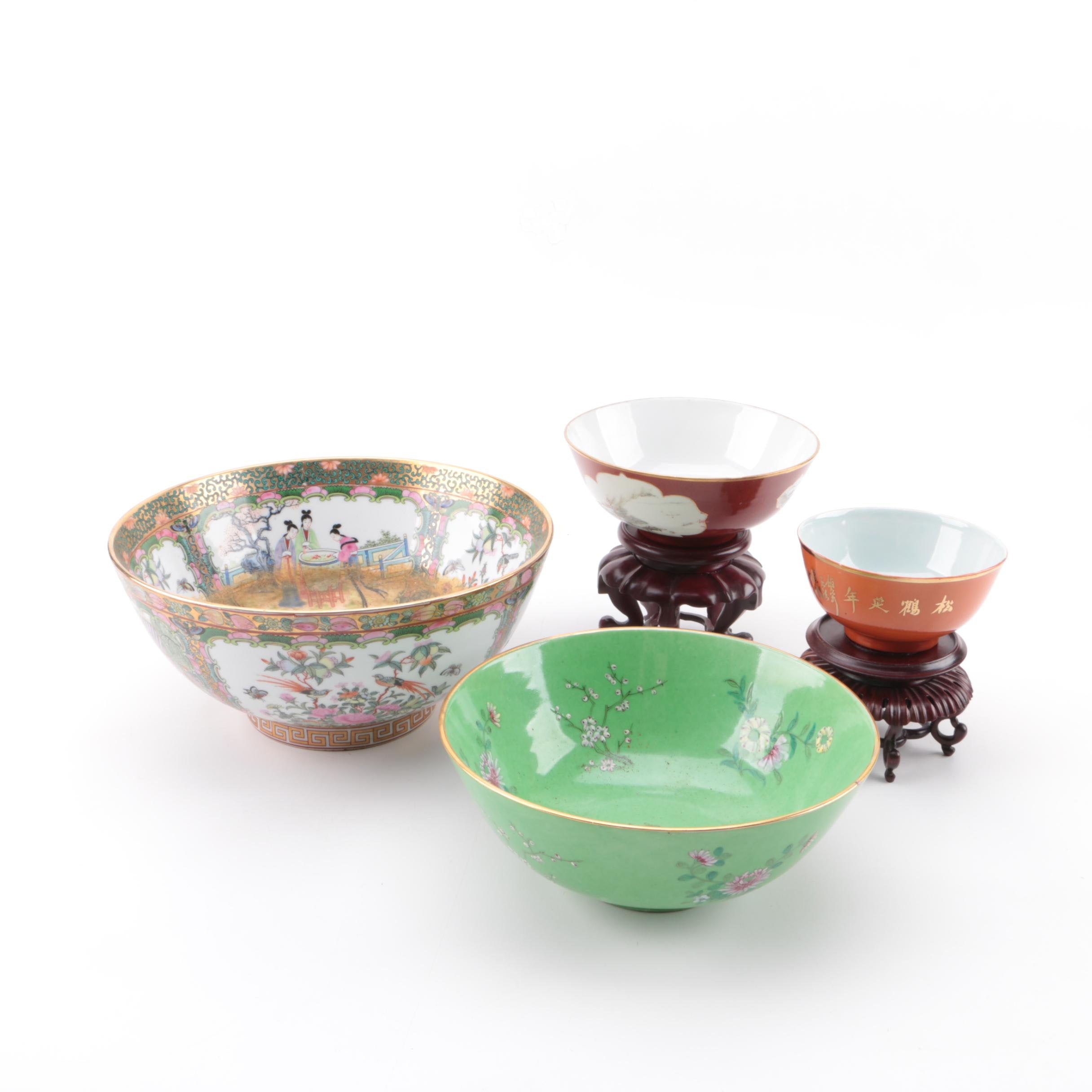 Chinese Porcelain Bowls with Stands