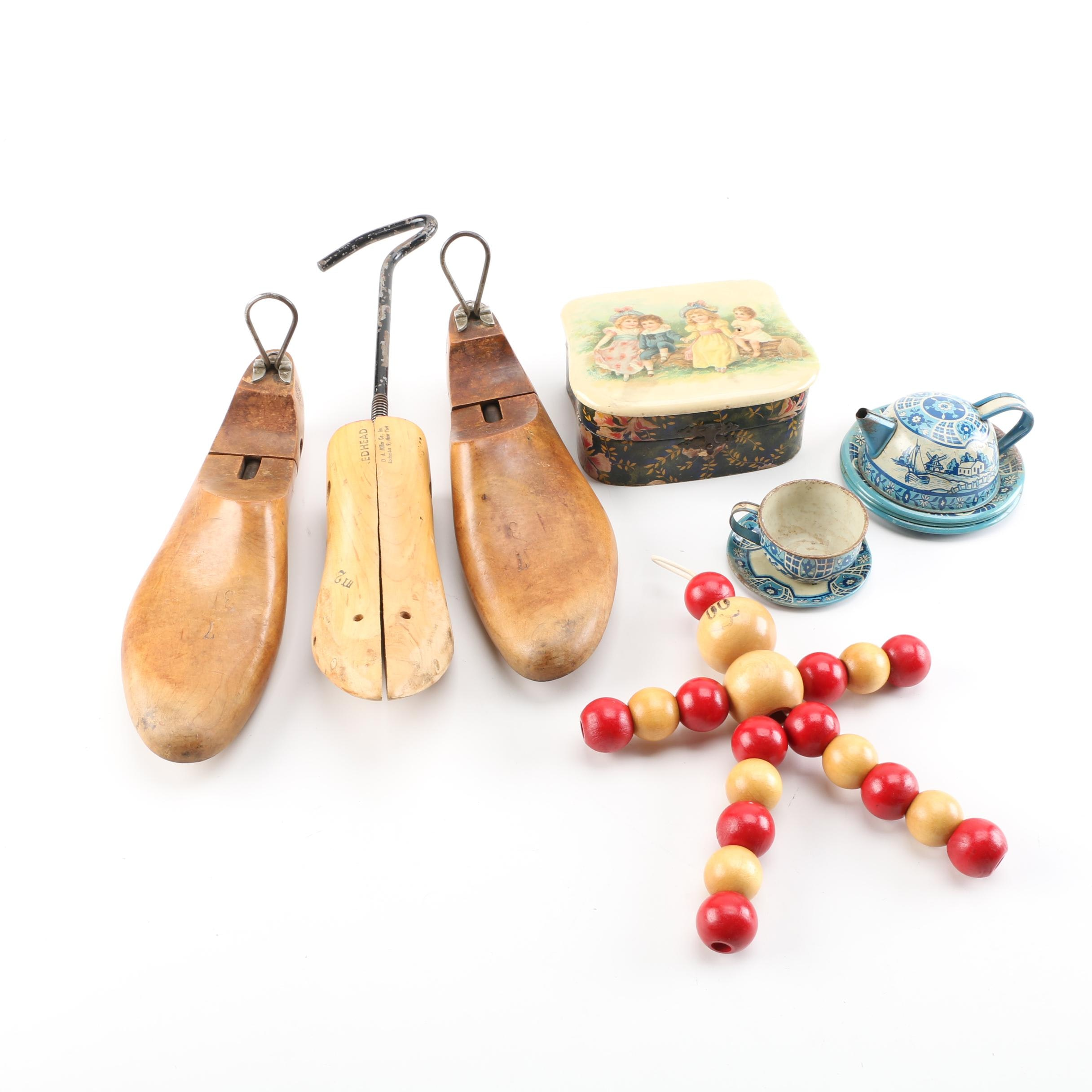 Vintage Tea Set, Trinket Box, Shoe Stretchers, and Bead Figurine