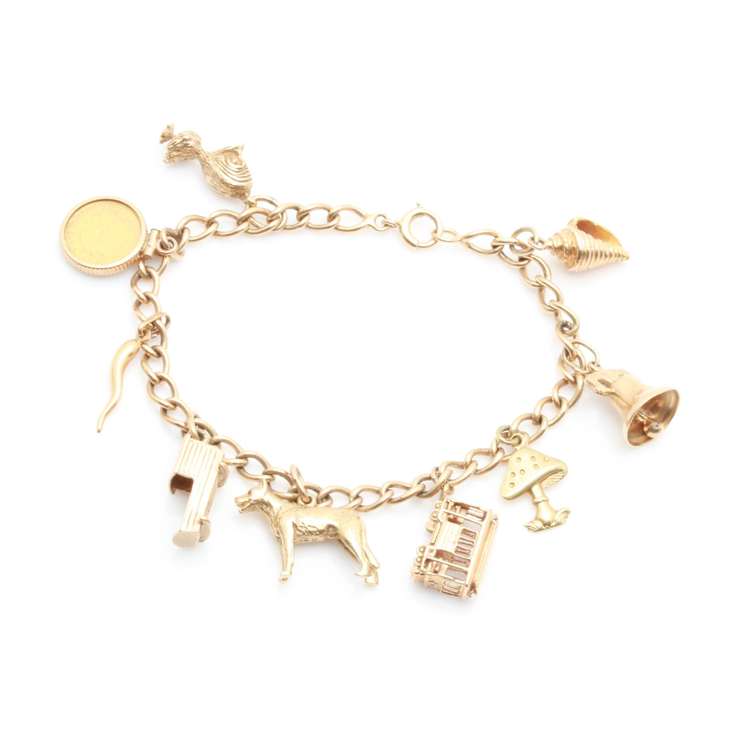 14K and 18K Yellow Gold Charm Bracelet