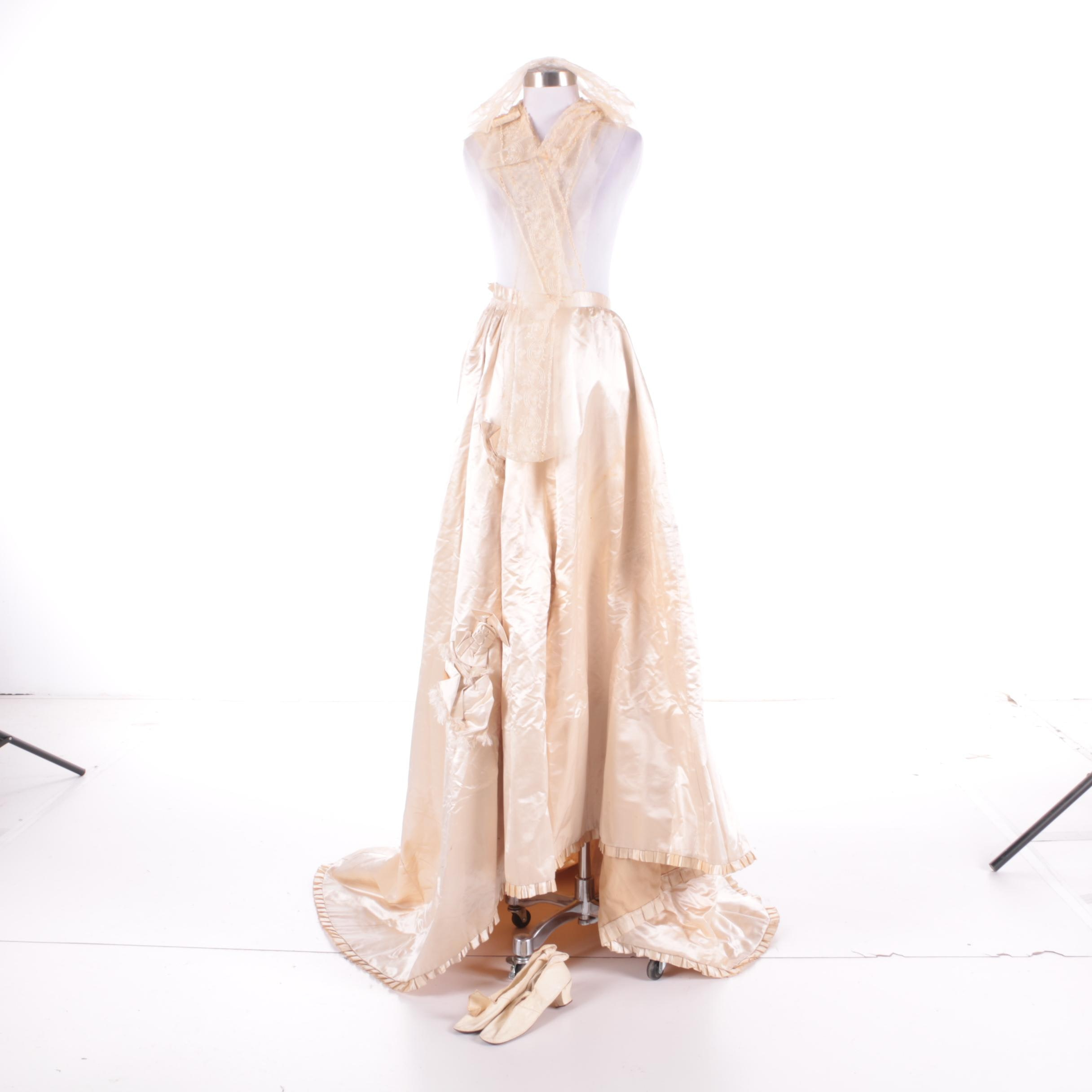 Circa 1870 Antique Wedding Skirt, Lace Veil Pieces and Shoes
