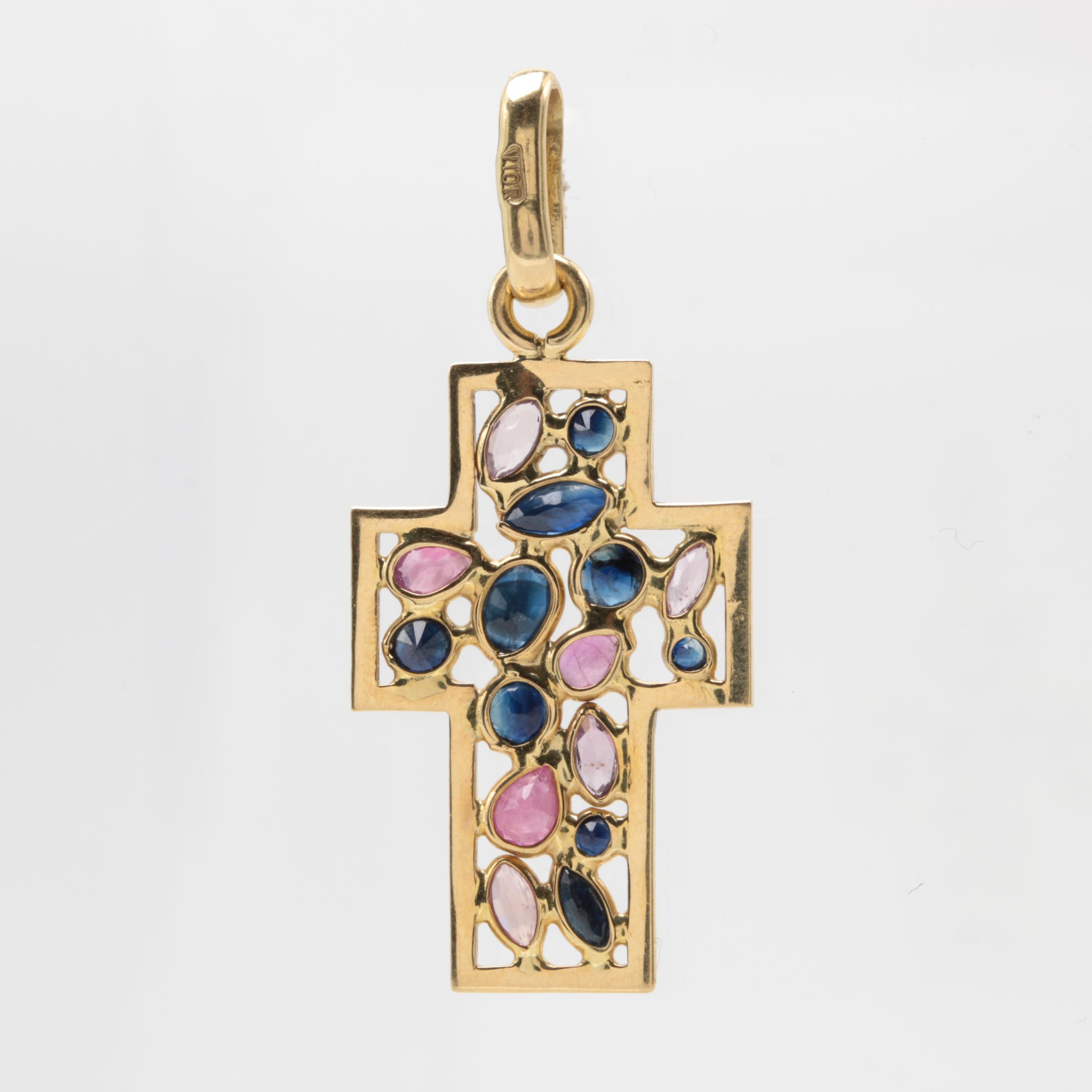 18K Yellow Gold Ruby and Blue Sapphire Cross Pendant