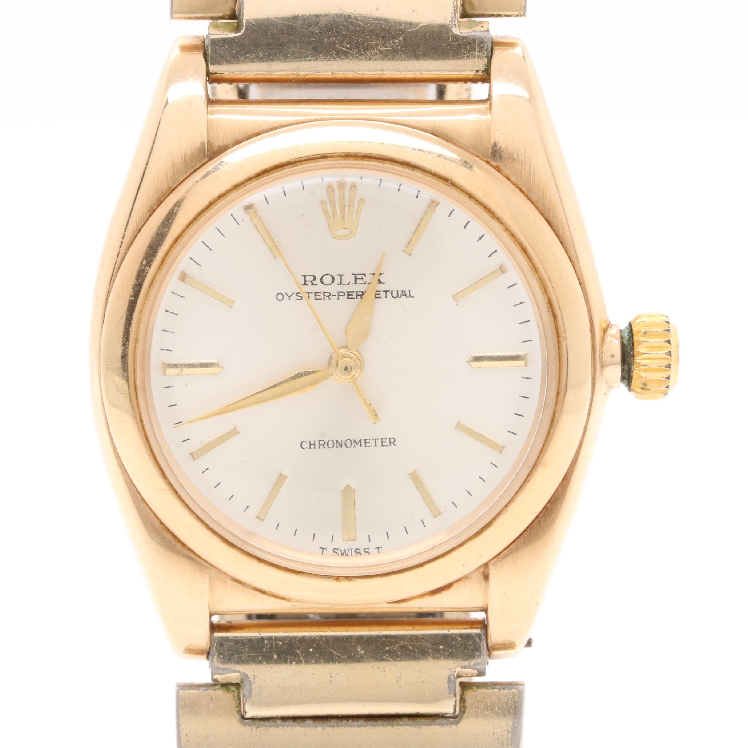 Rolex Oyster Chronometer 14K Yellow Gold Wristwatch with Speidel Bracelet