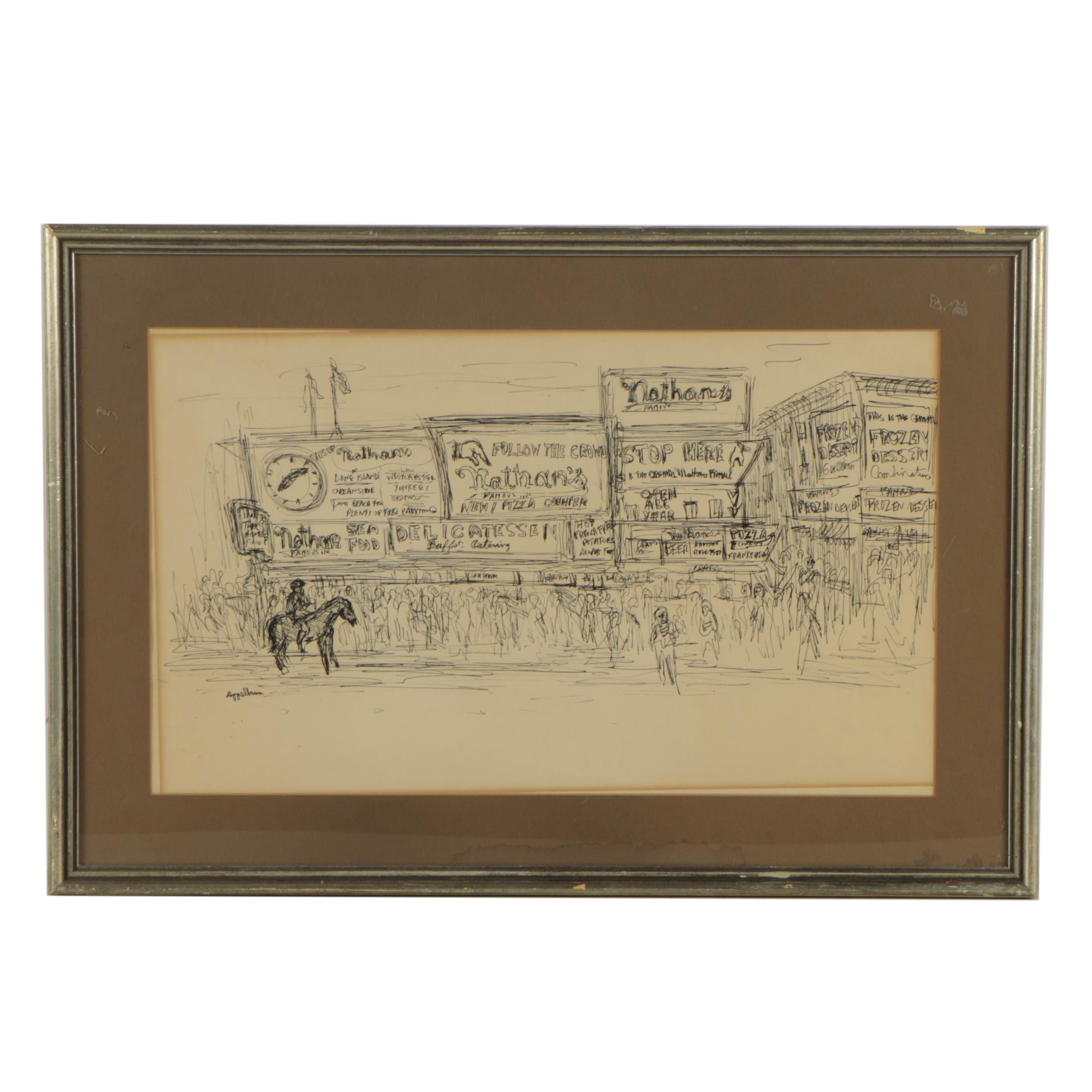 Appelbaum Pen and Ink Drawing of Coney Island