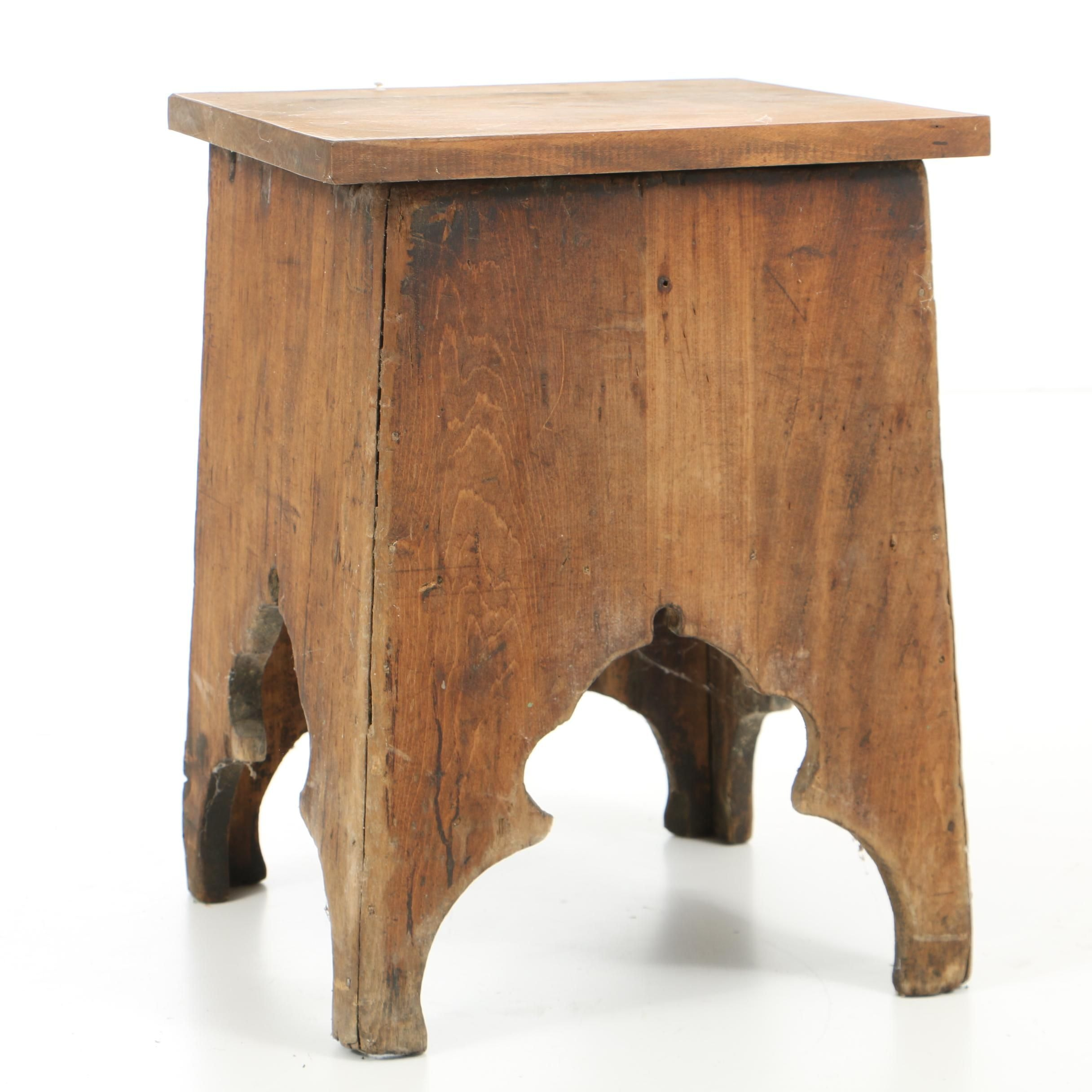 Antique Pine Lift-Top Stool