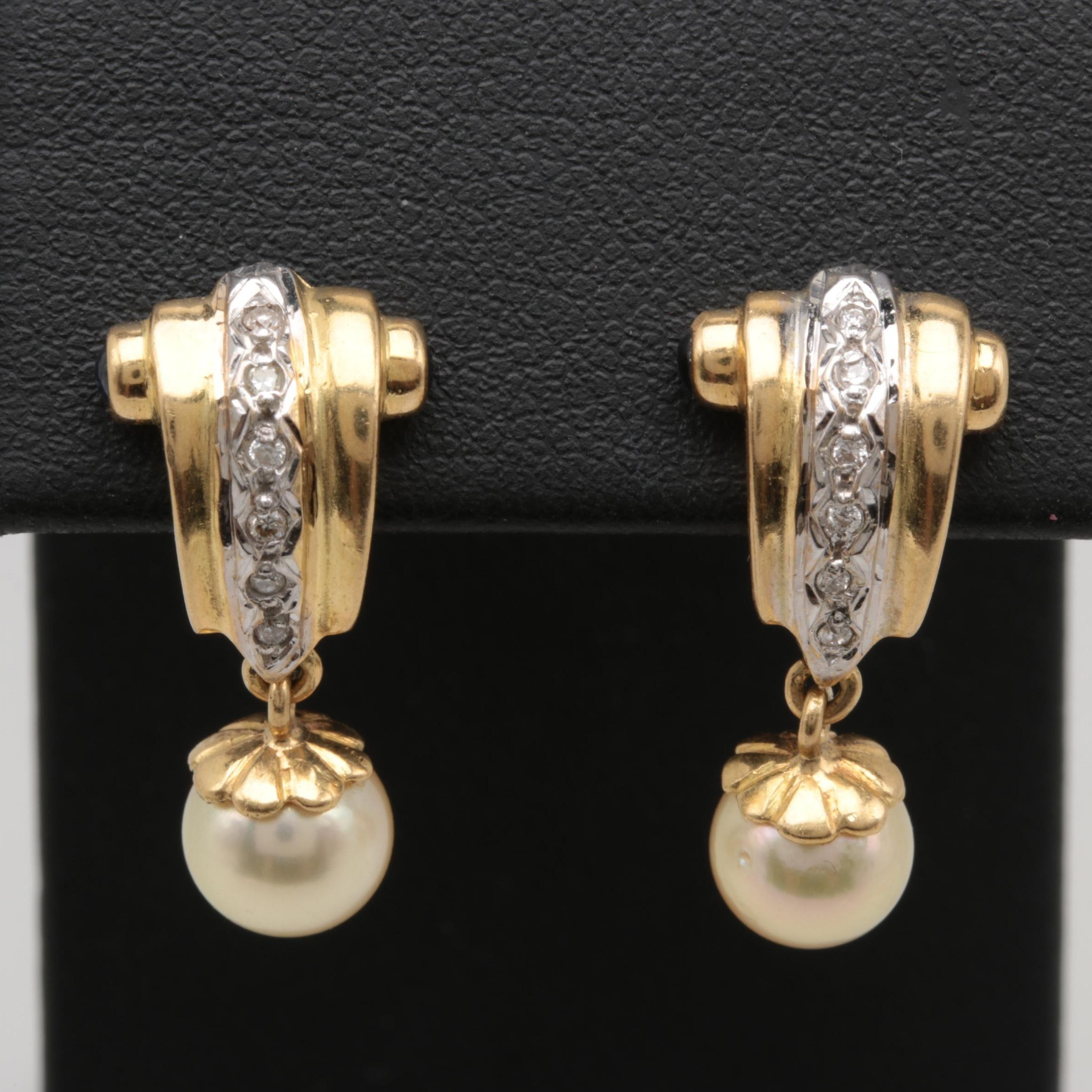 18K Yellow Gold Cultured Pearl, Blue Sapphire and Diamond Earrings