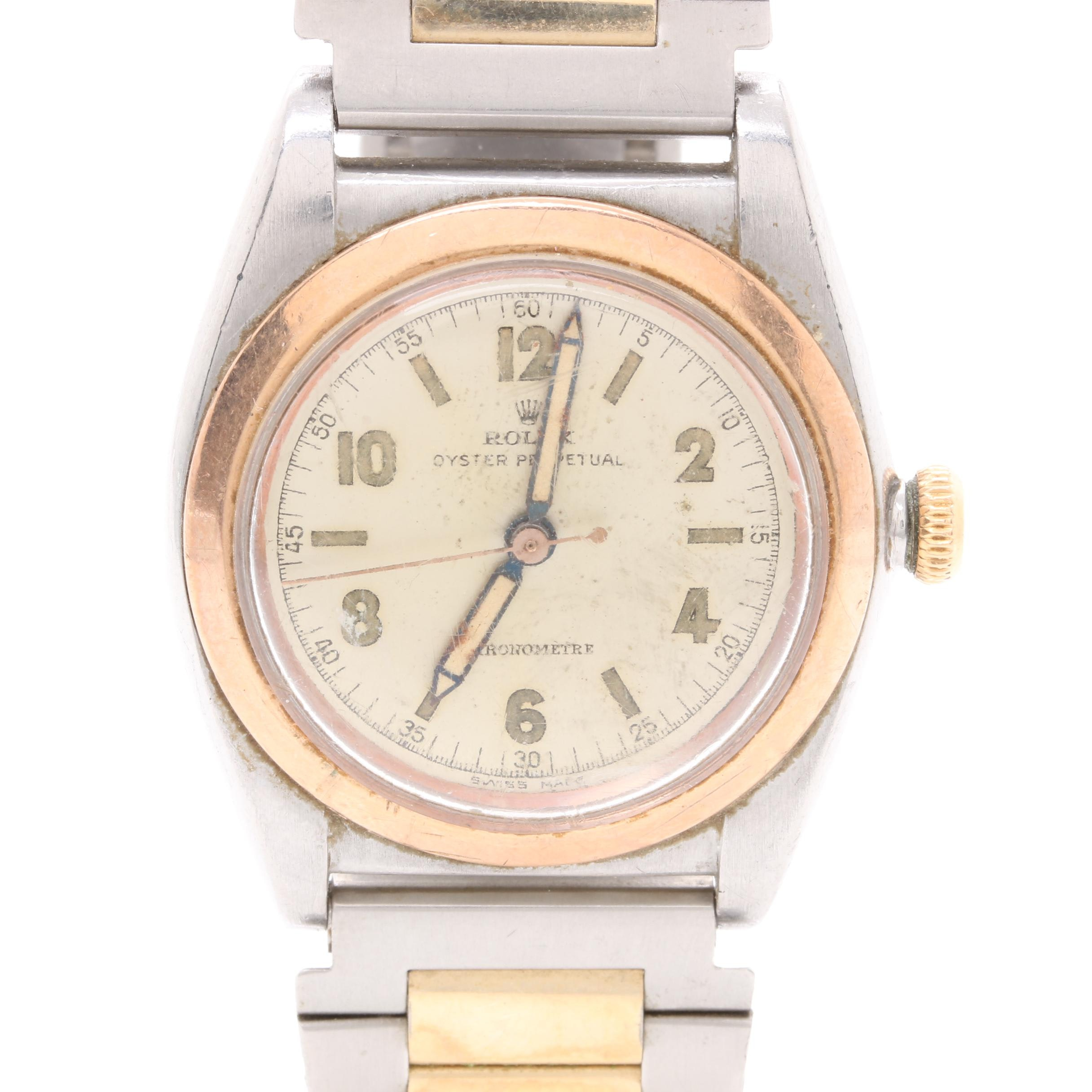 Rolex Oyster Perpetual Chronometer Stainless Steel with 14K Rose Gold Wristwatch
