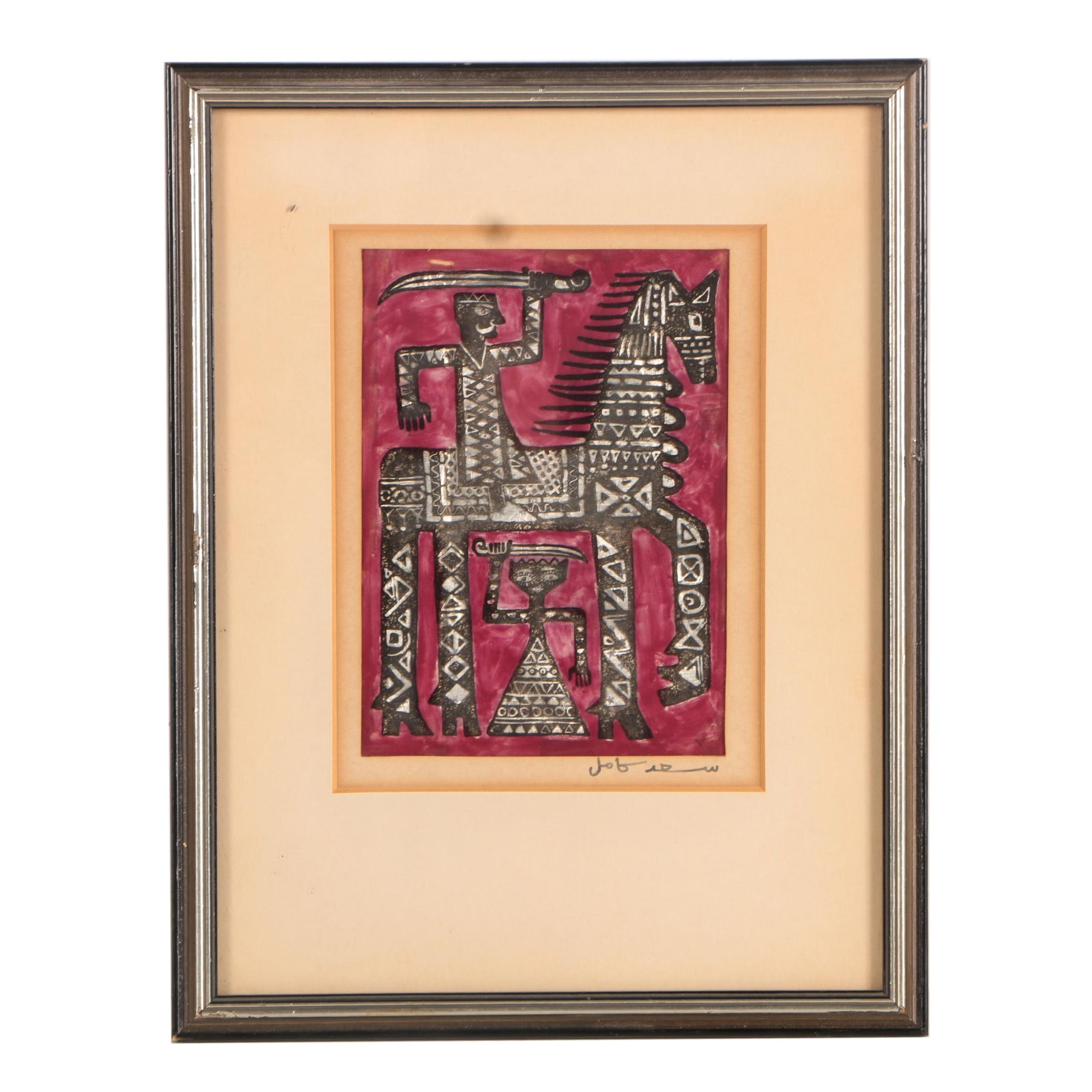 Mixed Media on Plastic of Abstract Horse and Rider