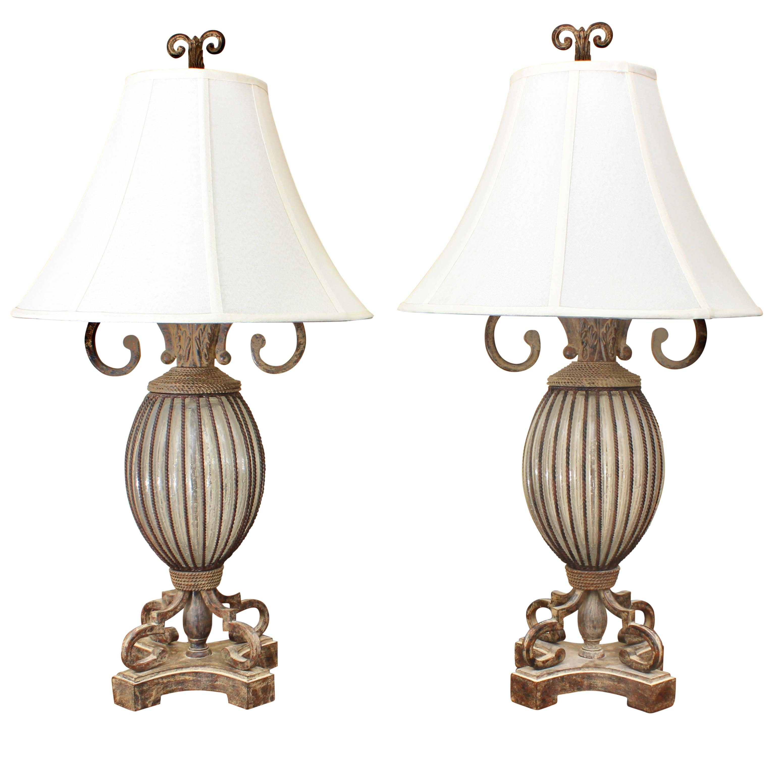 Metal & Glass Table Lamps With Canvas Bell Shades