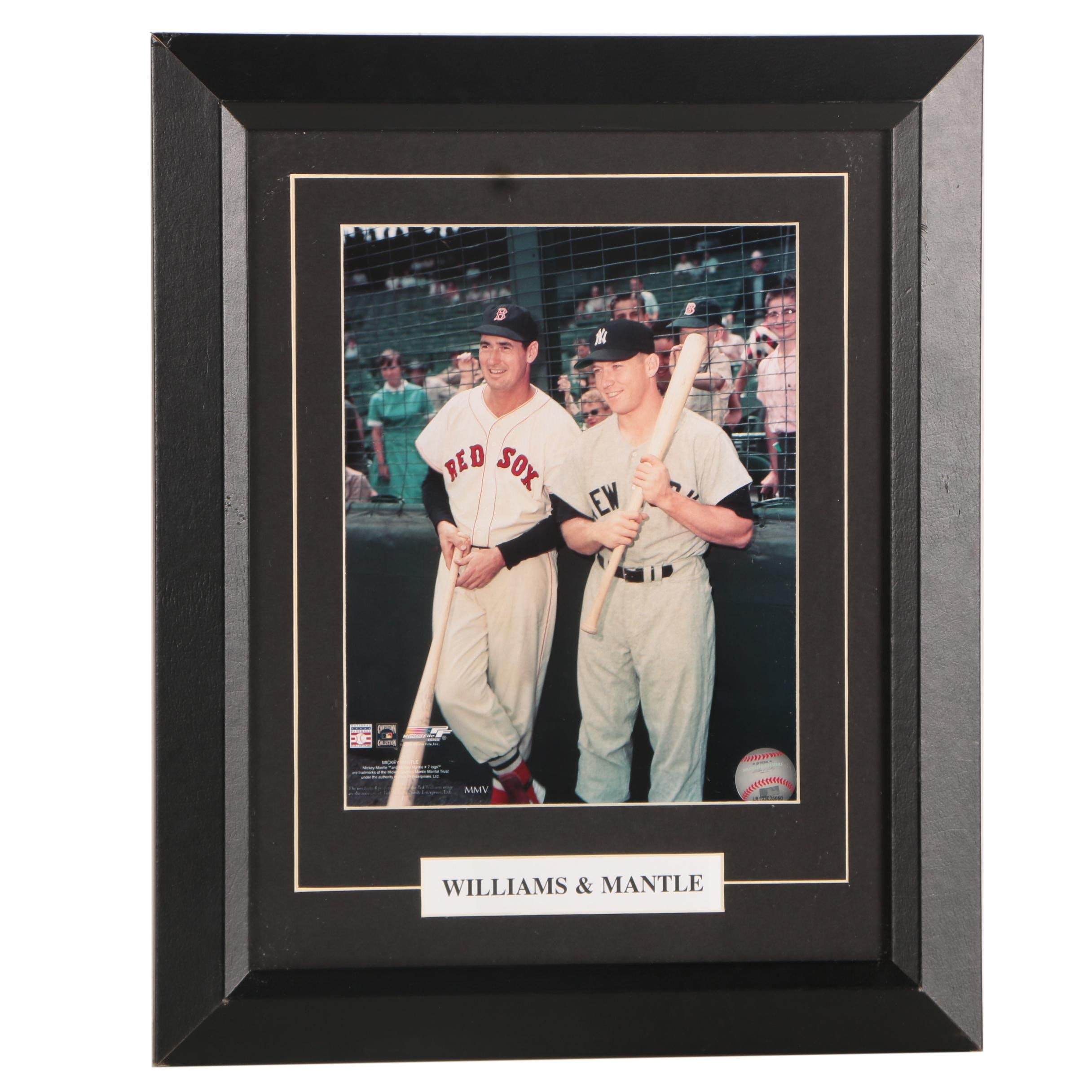 Ted Williams and Mickey Mantle Framed Color Photograph