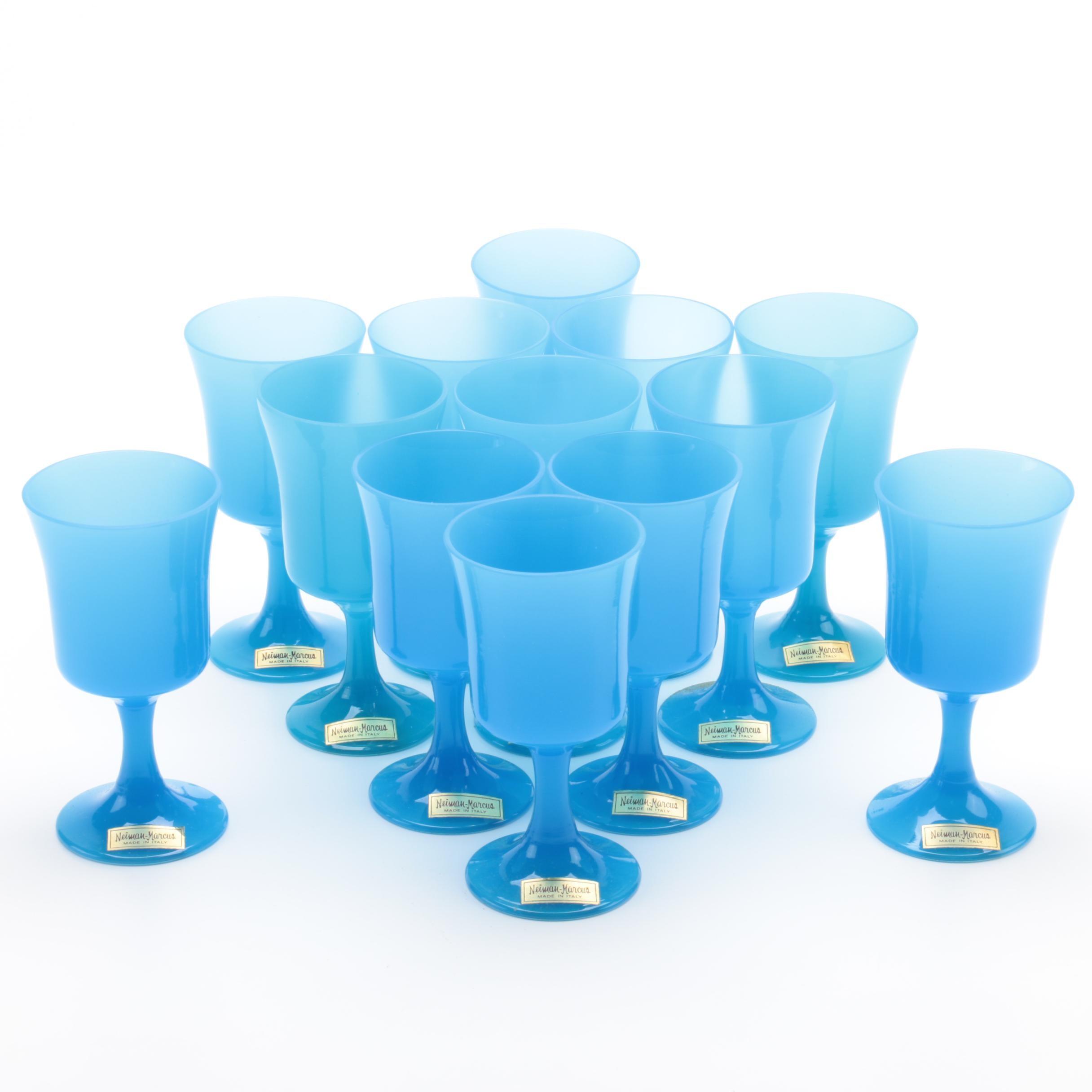 Italian Blue Glass Goblets for Neiman Marcus