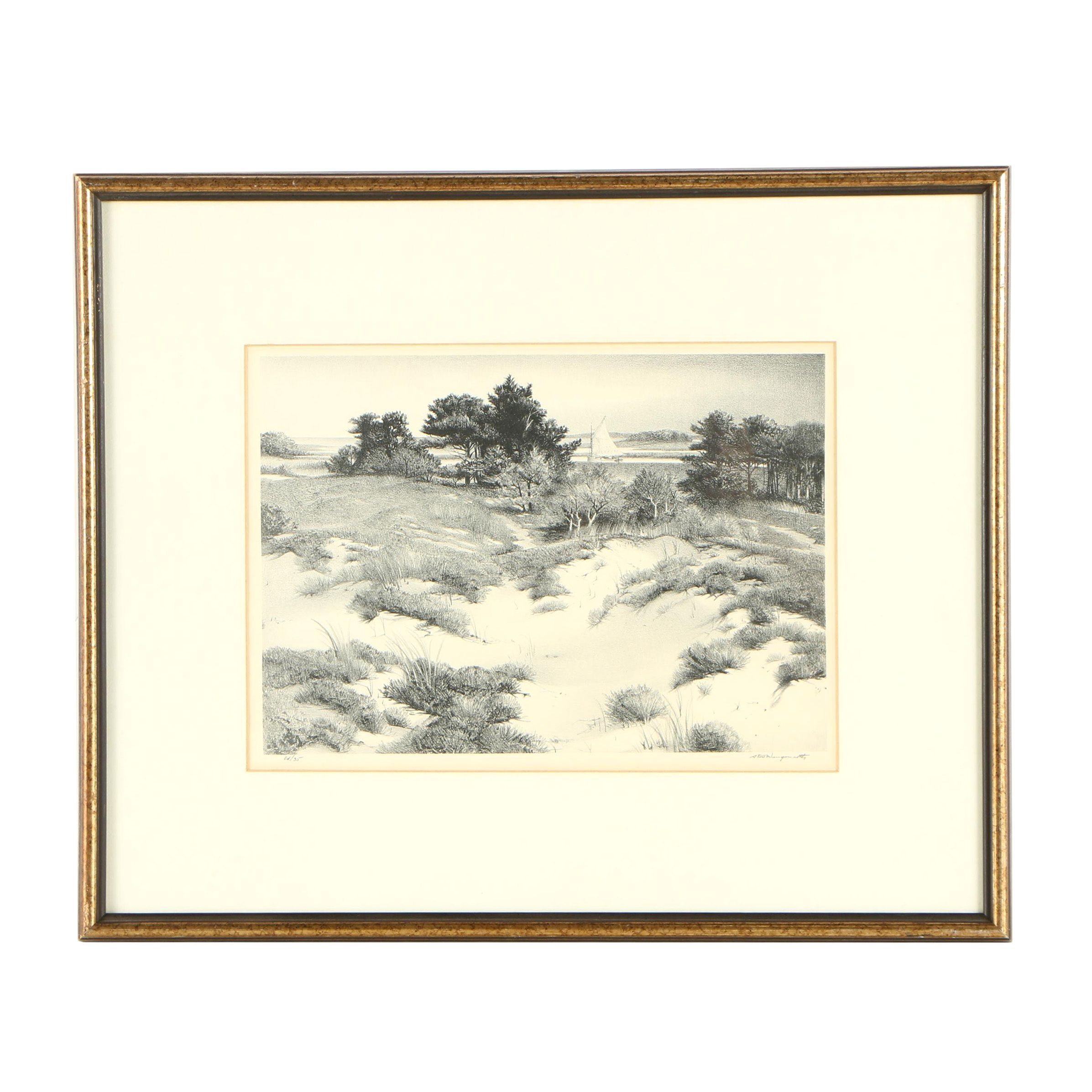 Stow Wengenroth Circa 1960s Lithograph of Waterfront Landscape