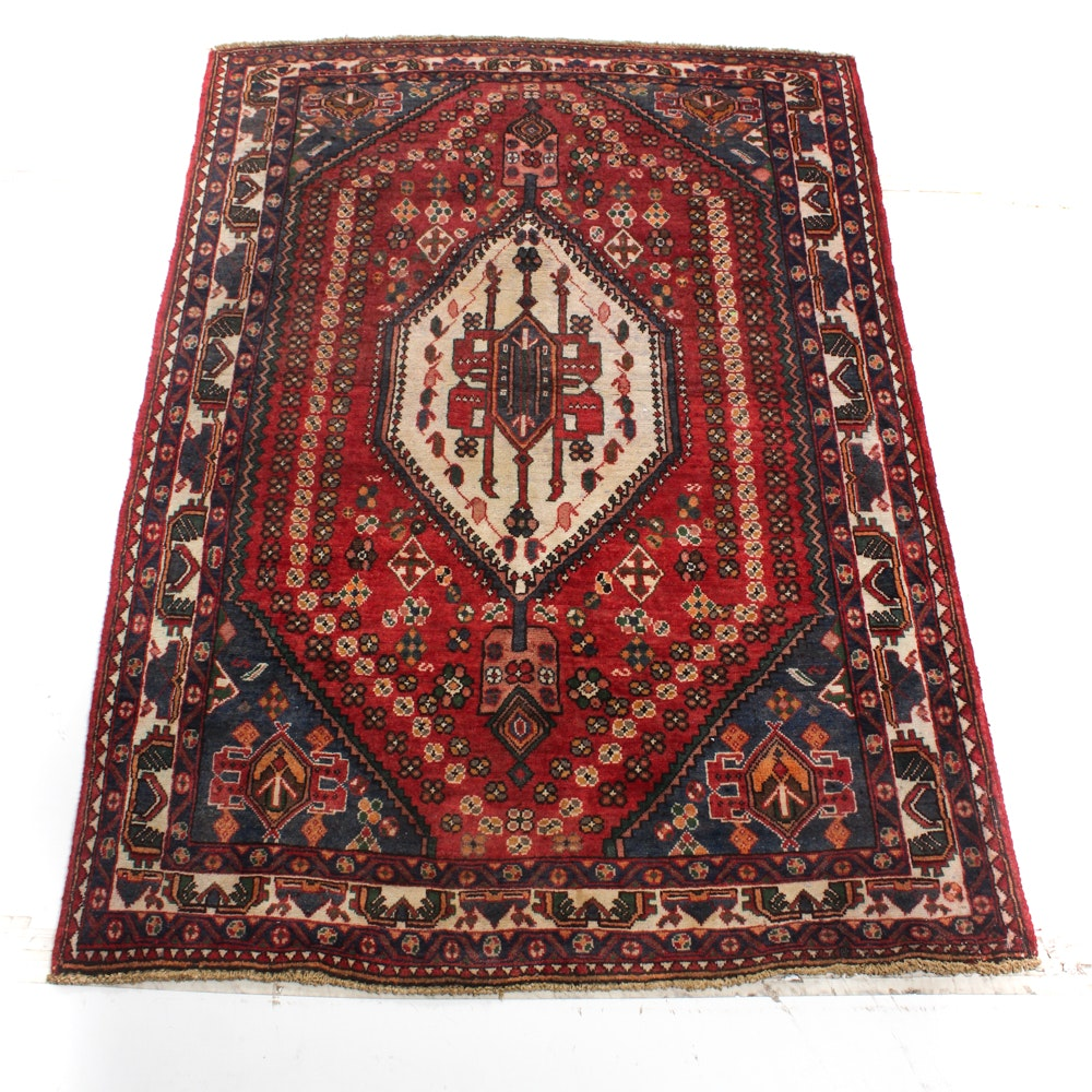 5' x 7' Vintage Hand-Knotted Persian Qashqai Area Rug