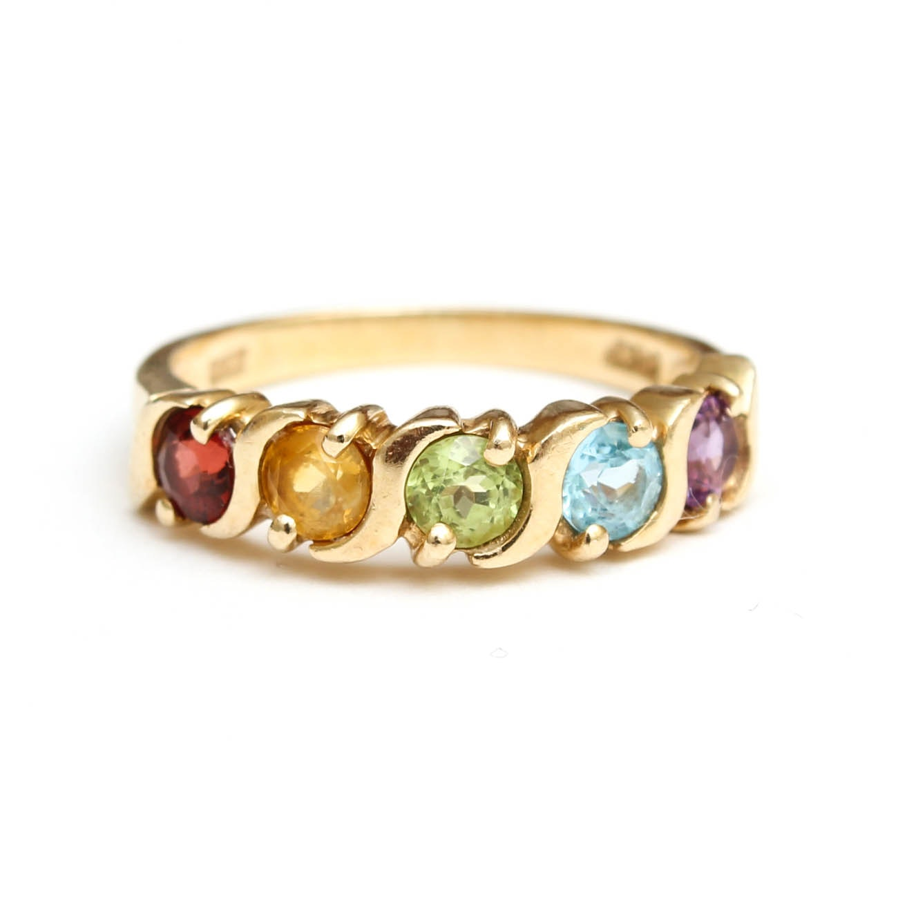 14K Yellow Gold Ring with Gemstones
