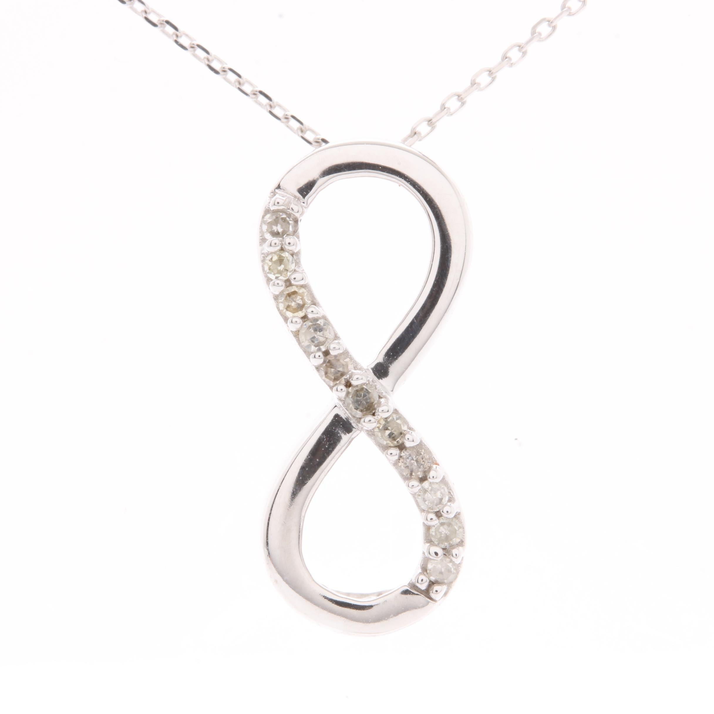 10K White Gold Diamond Infinity Necklace