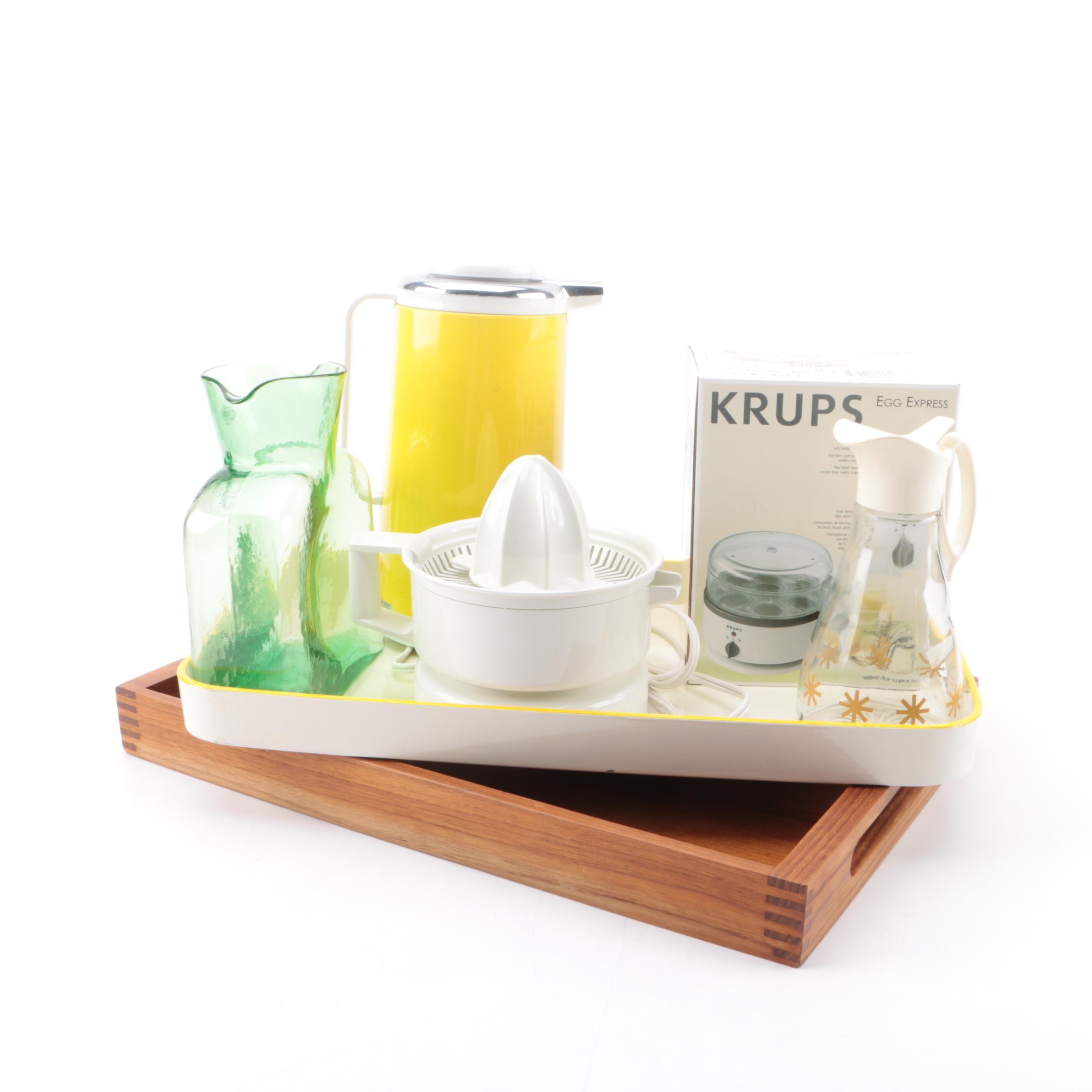 Krups Juicer, Egg Express, Trays, Blenko Pitcher and Hues 'n Brews Carafe