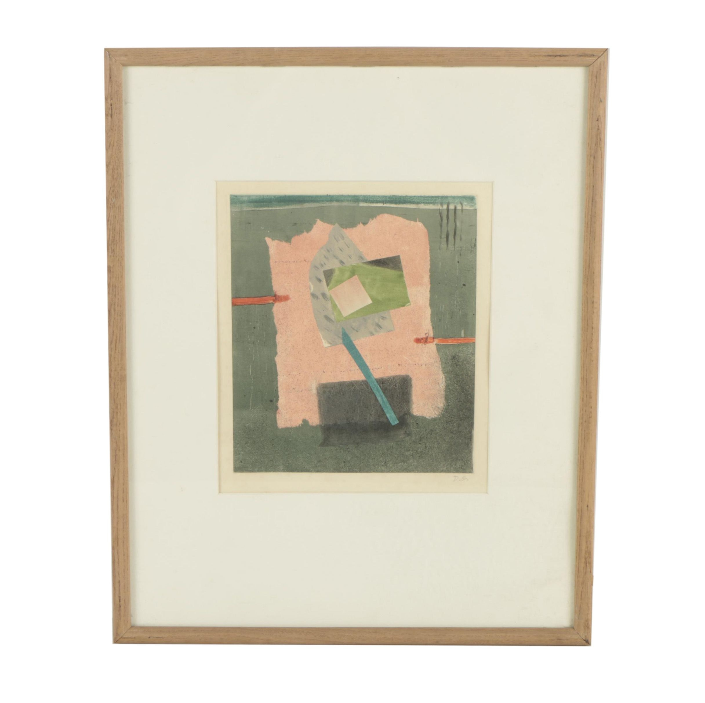 D.G. Circa 1960s Color Etching of Modernist Abstract Composition