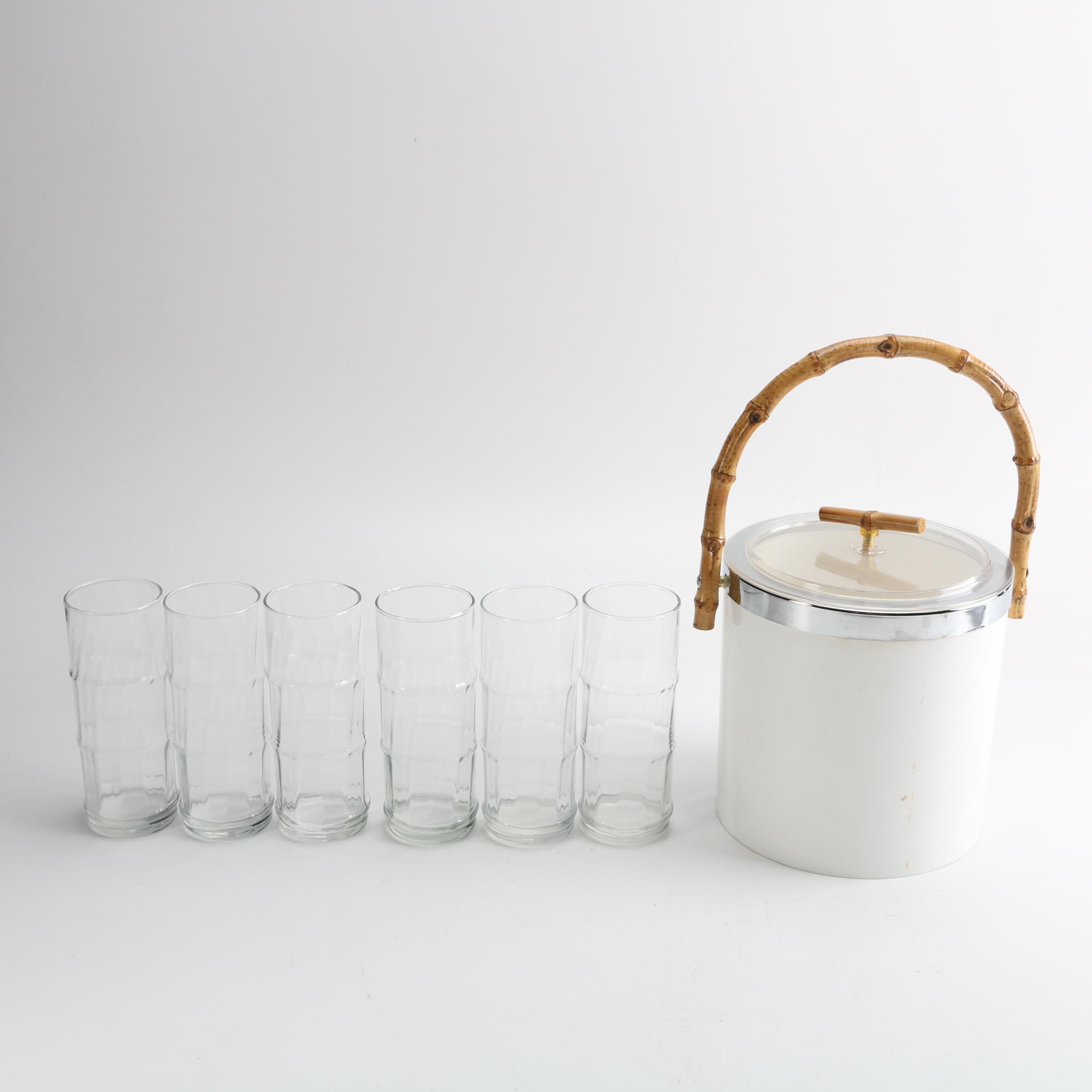 Bamboo-Style Ice Bucket and Glassware Set