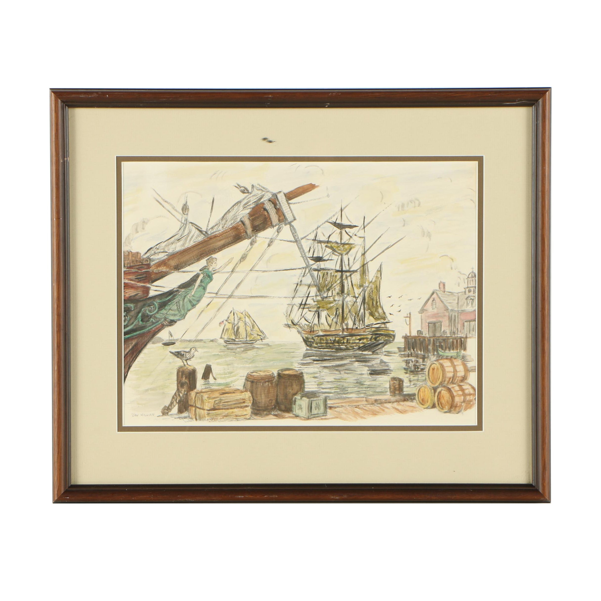 Hand Colored Offset Lithograph of Ship in Harbor After Jay Killian