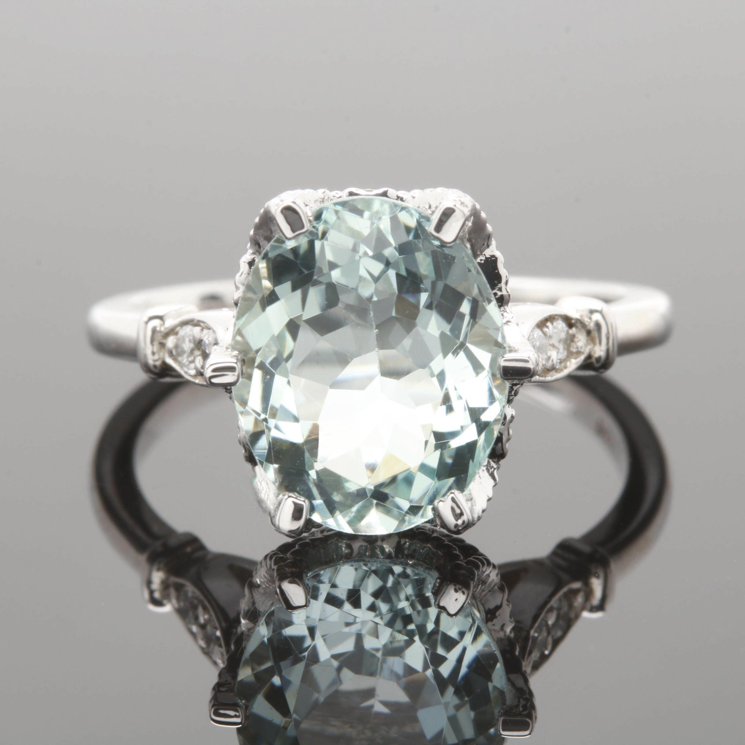 14K White Gold 3.01 CT Aquamarine and Diamond Ring