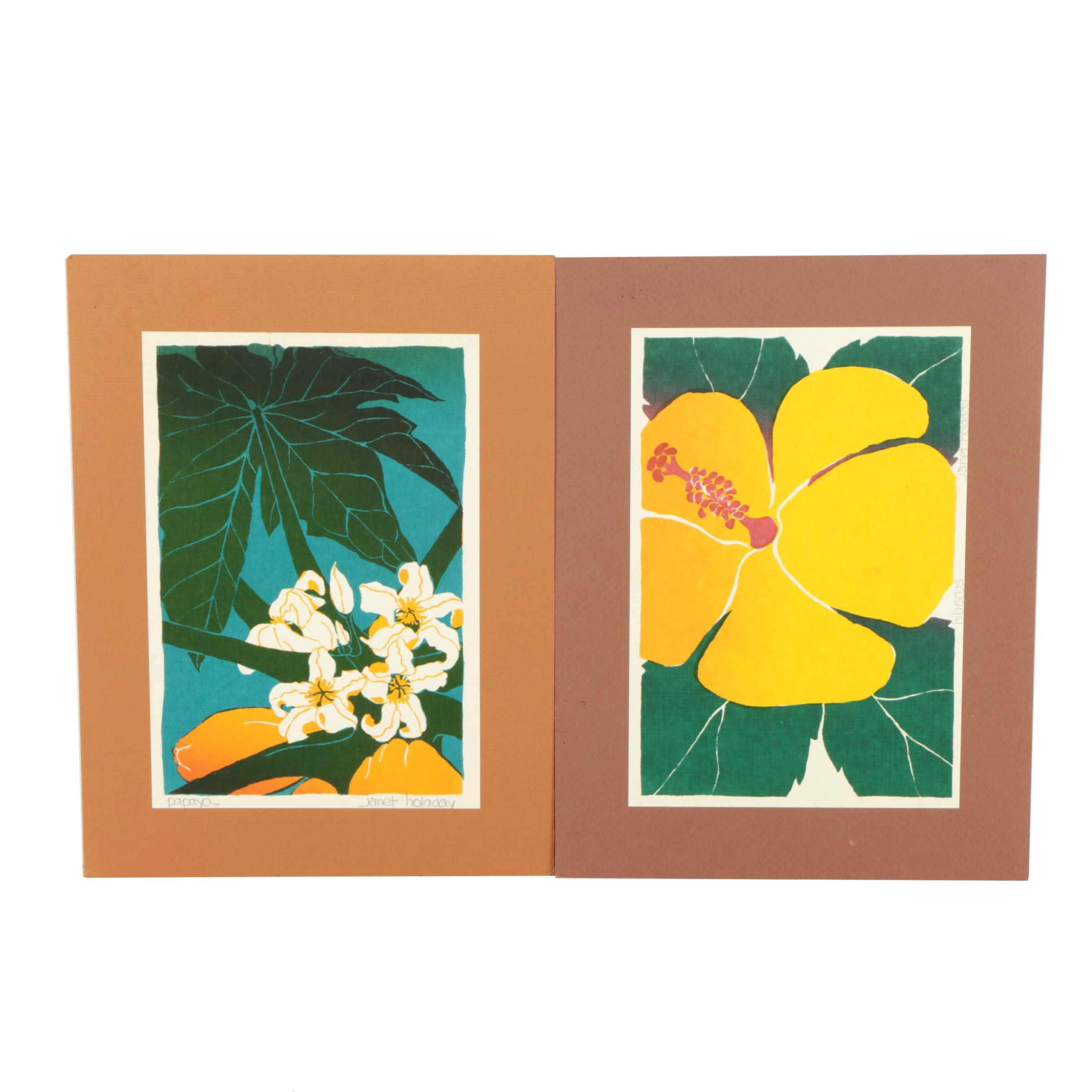 "Janet Holaday Serigraphs ""Papaya"" and ""Hibiscus"""