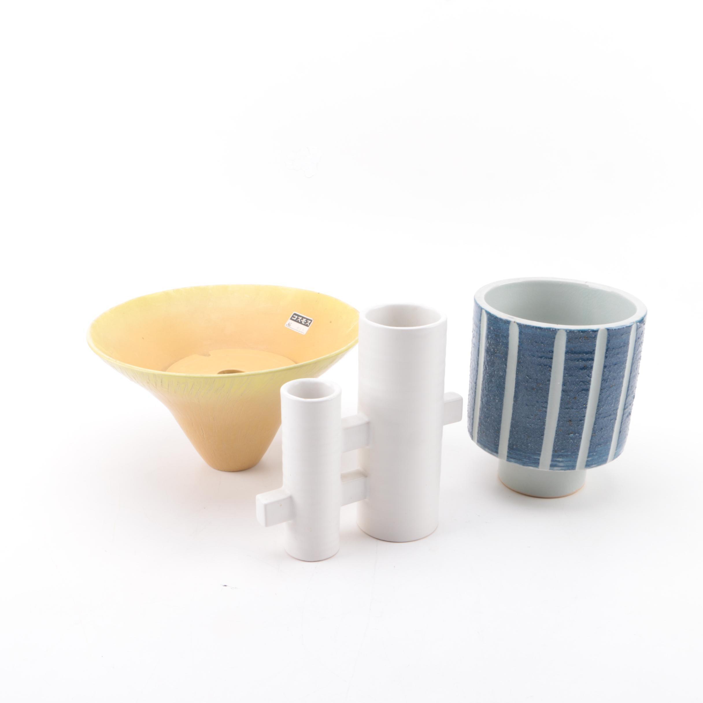 Asian Mid-Century Modern Style Porcelain Vases
