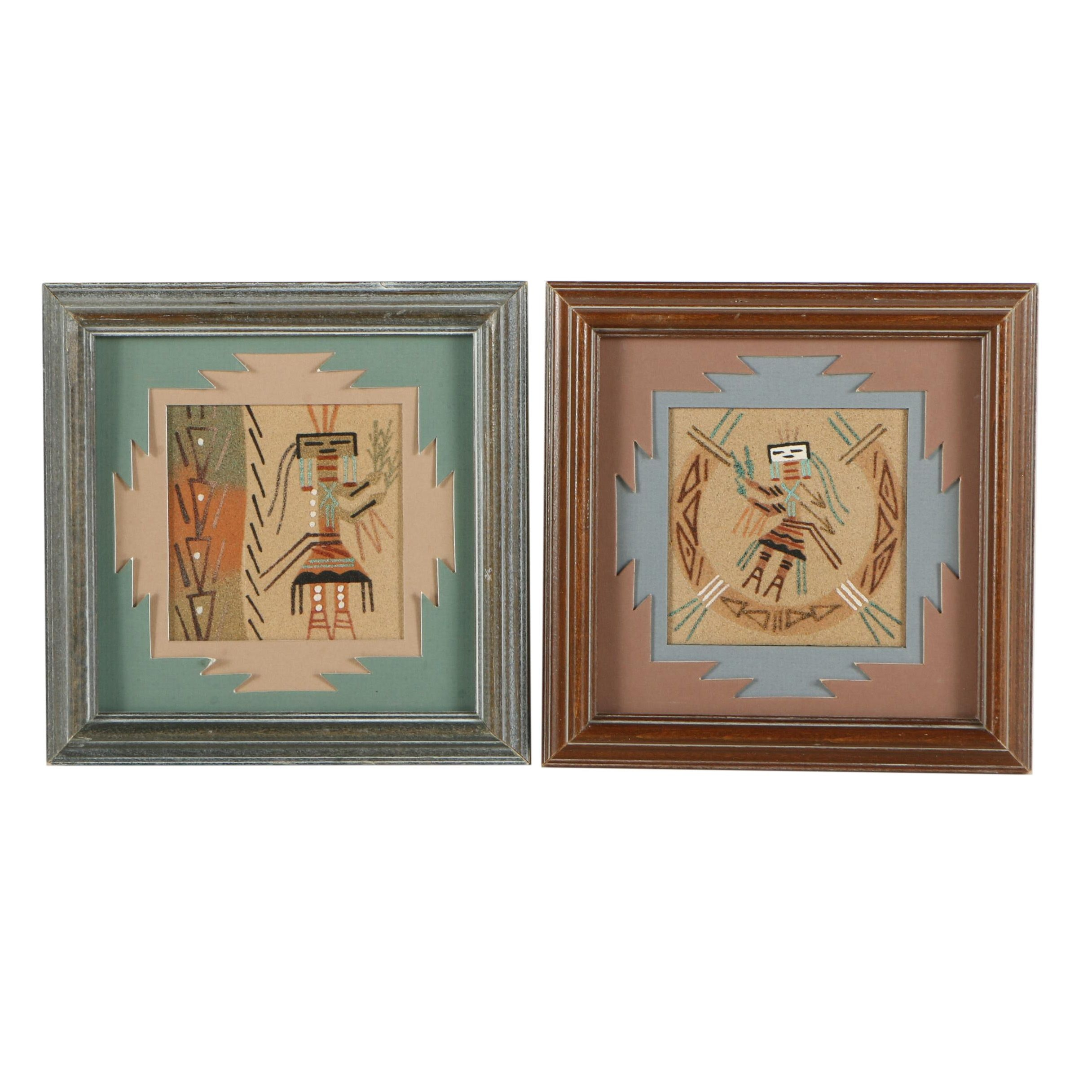 Pair of Native American-Style Sand Paintings on Panel