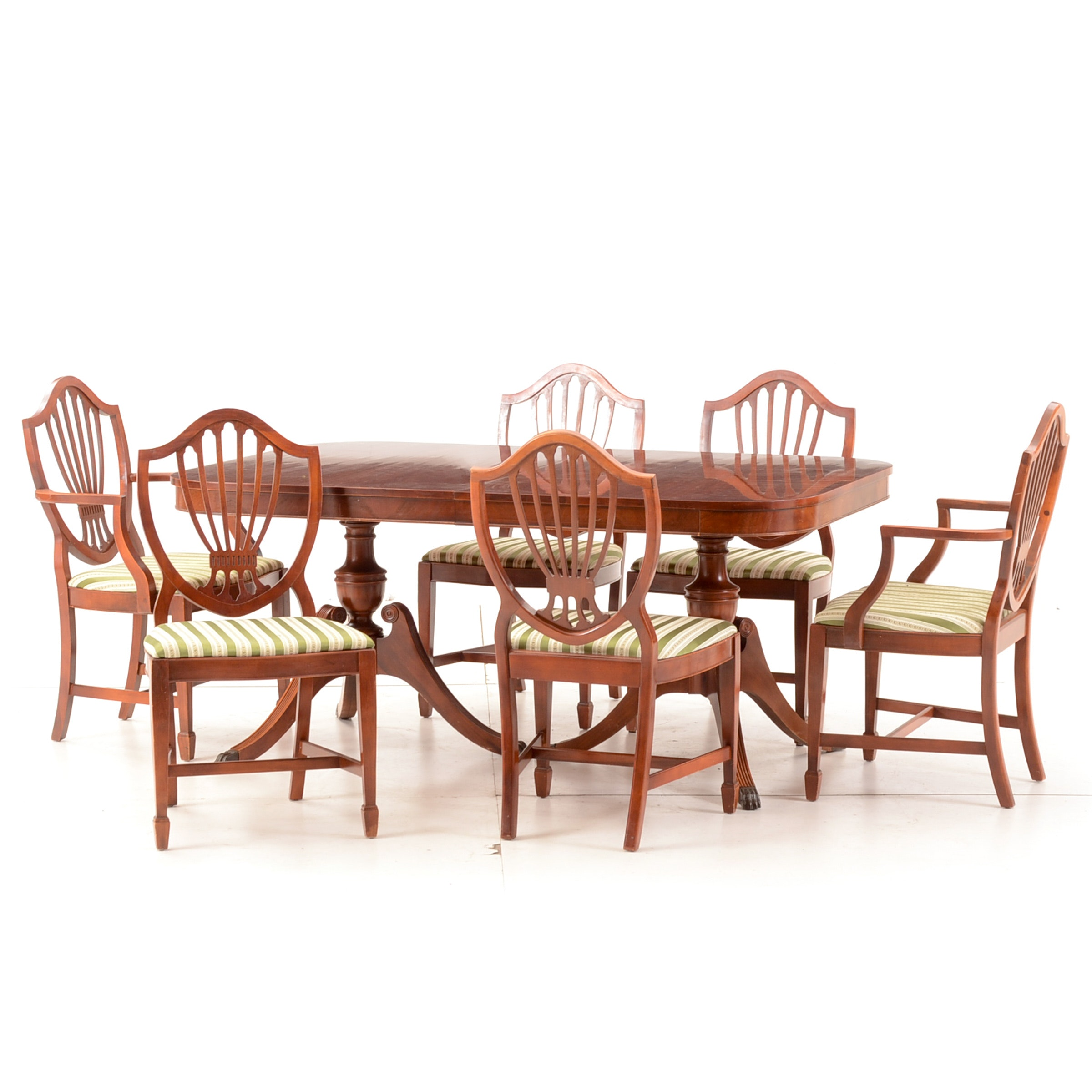 Hepplewhite Style Mahogany Dining Table and Six Chairs