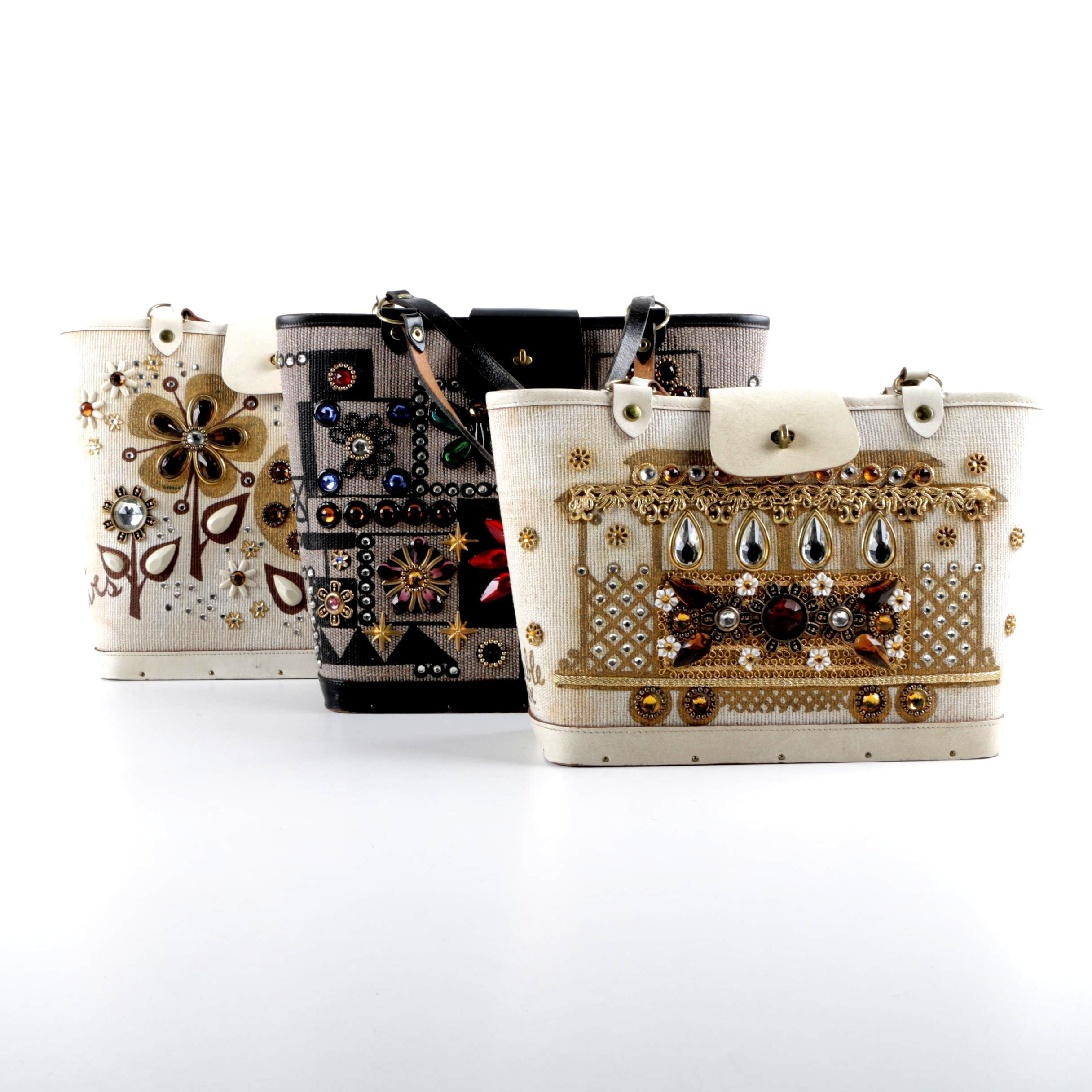 1960s Enid Collins Embellished Handbags, Including Jewel Patch and Cable Car