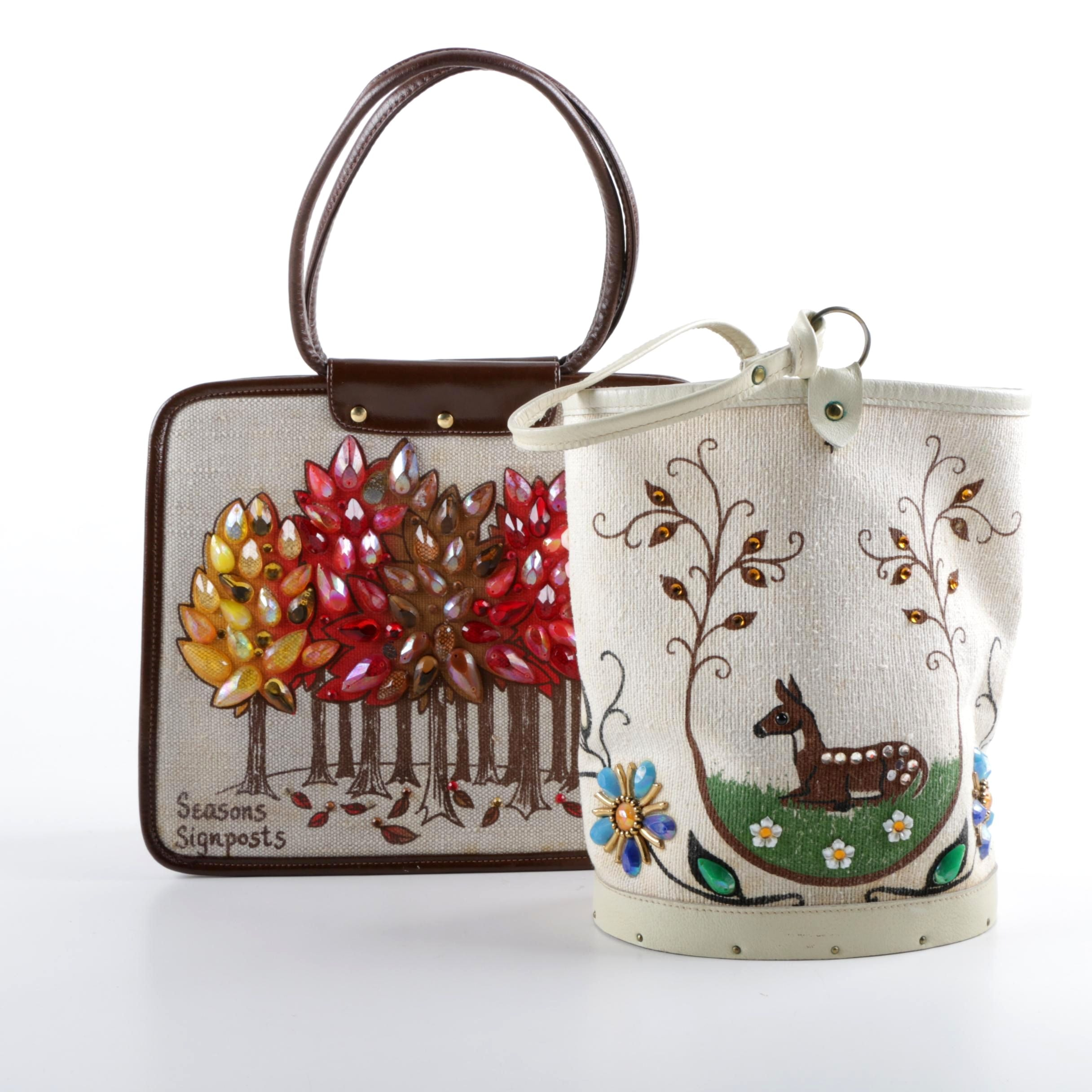 "1970s Enid Collins Embellished ""Seasons Signposts"" and ""Wild Life"" Handbags"