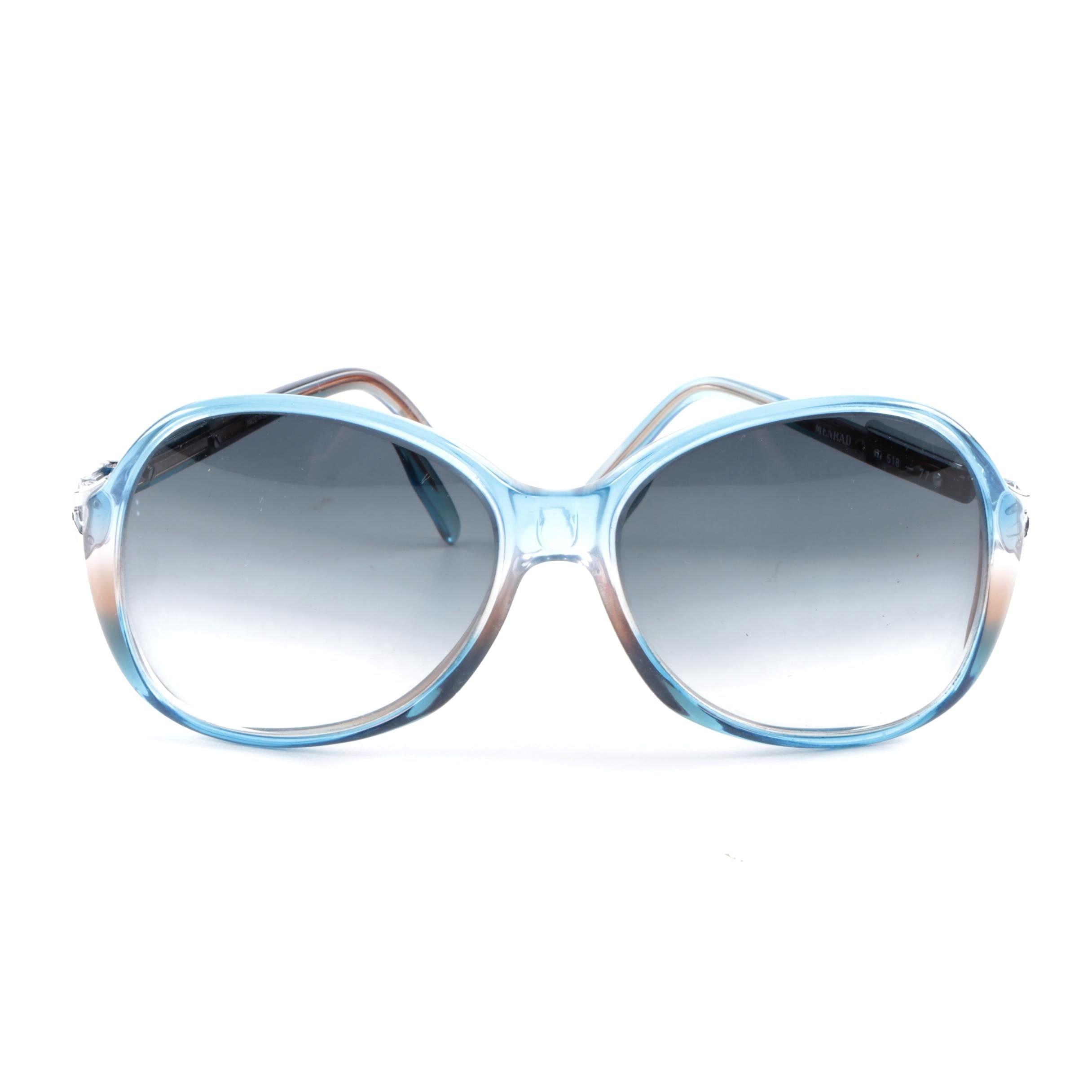 1980s Menrad Cobalt Blue 518-77 Sunglasses