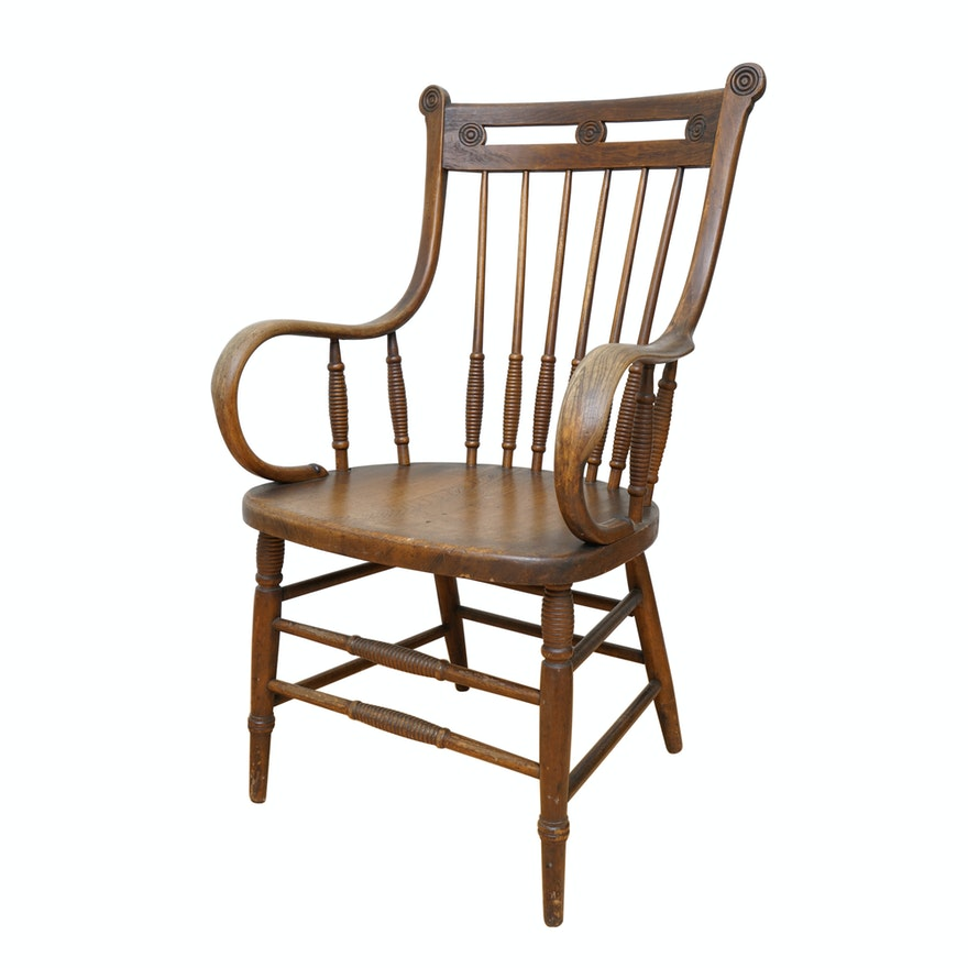 Antique Wood Chair with Bent Arms ... - Antique Wood Chair With Bent Arms : EBTH