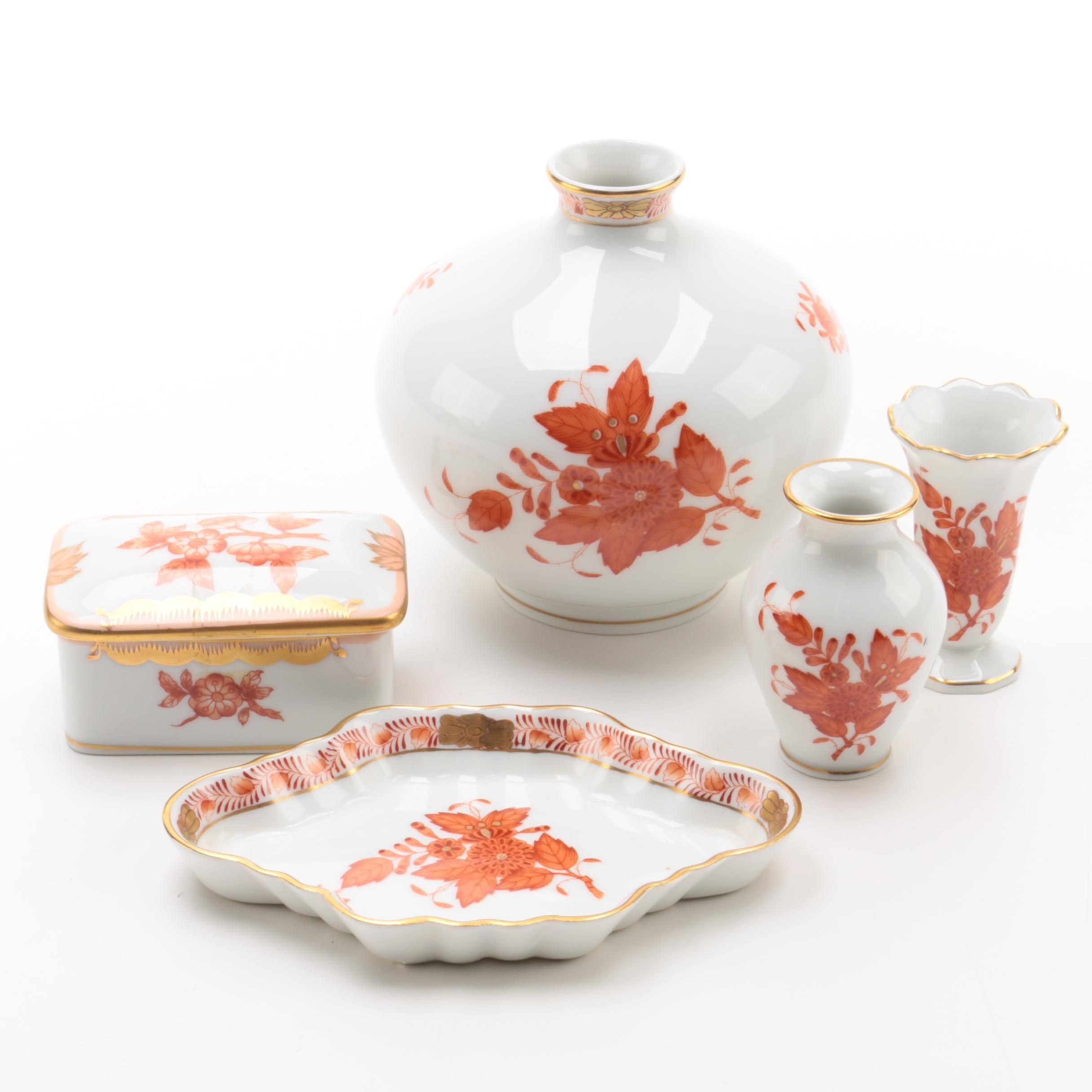 "Herend Hungary ""Chinese Bouquet Rust"" Decor"