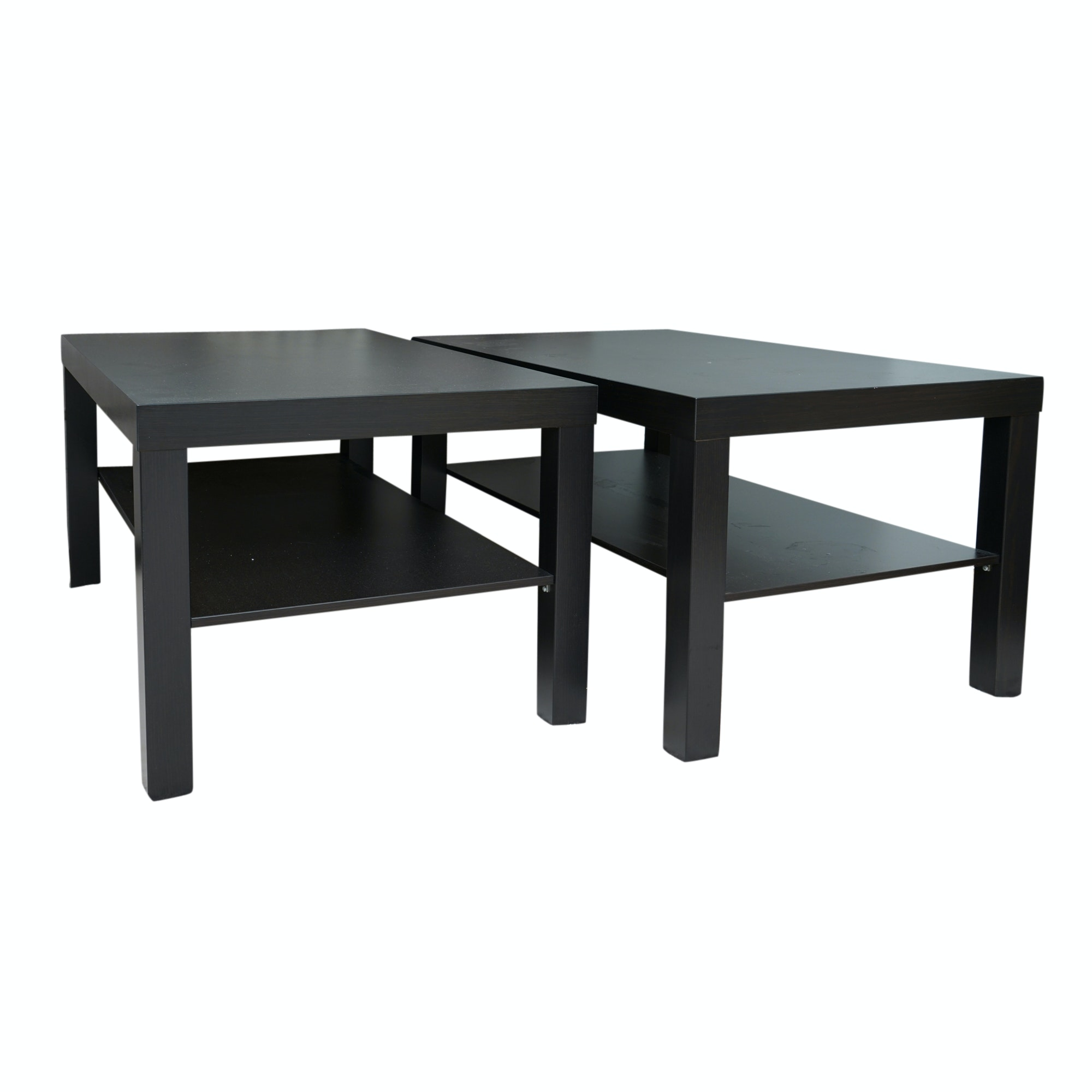 "Pair of Black Finished ""Lack"" Side Tables by IKEA"