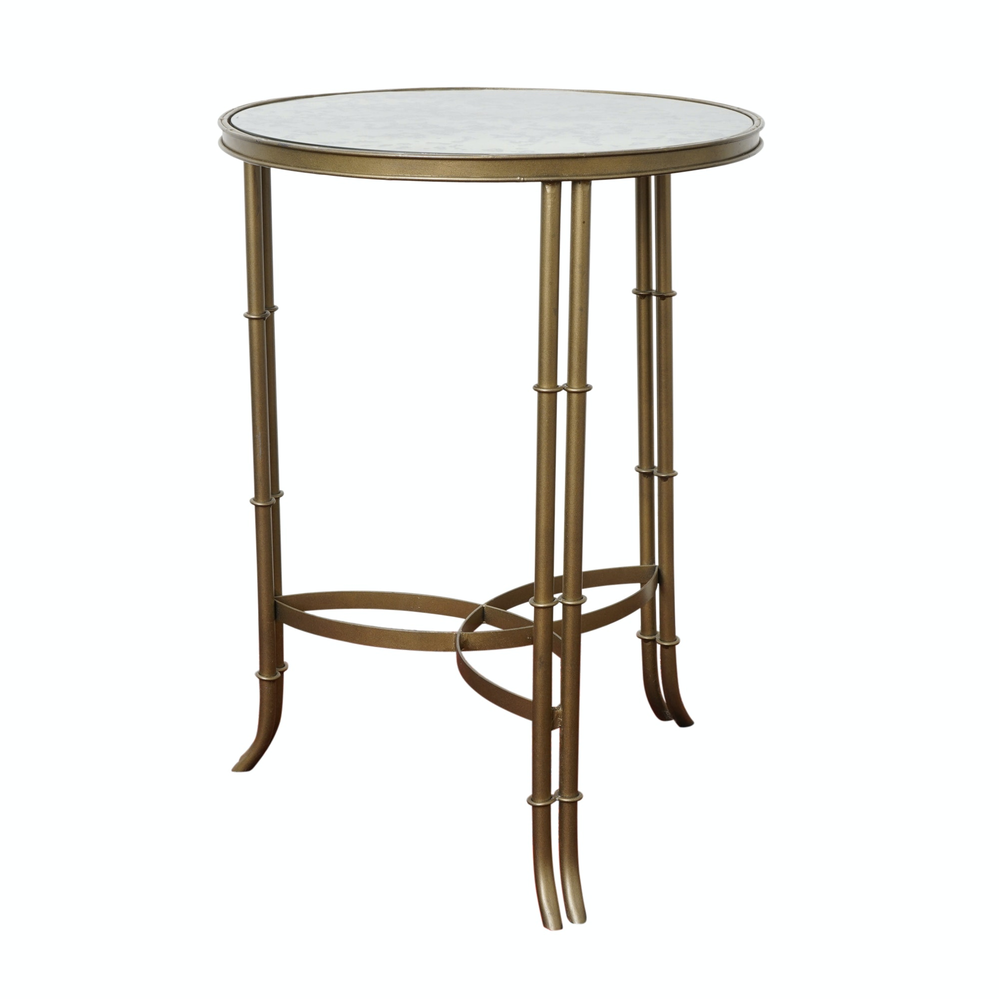 Glass Top Brass Accent Table