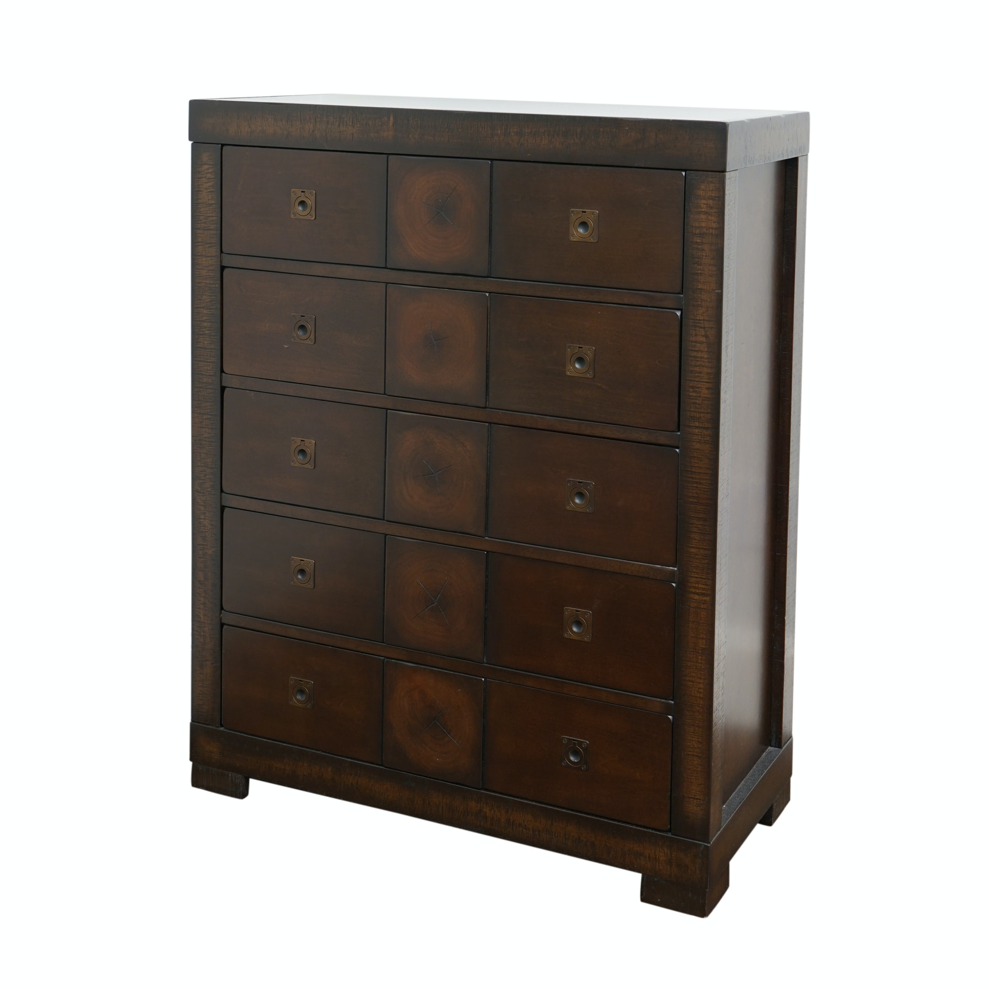 Rustic Finish Campaign Style Chest of Drawers