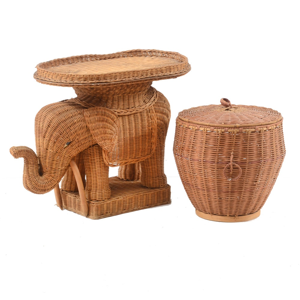 Woven Elephant Occasional Table and Covered Basket