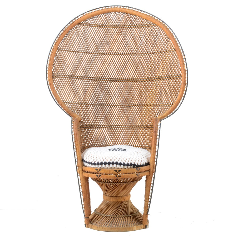 Vintage Woven Fan or Peacock Chair