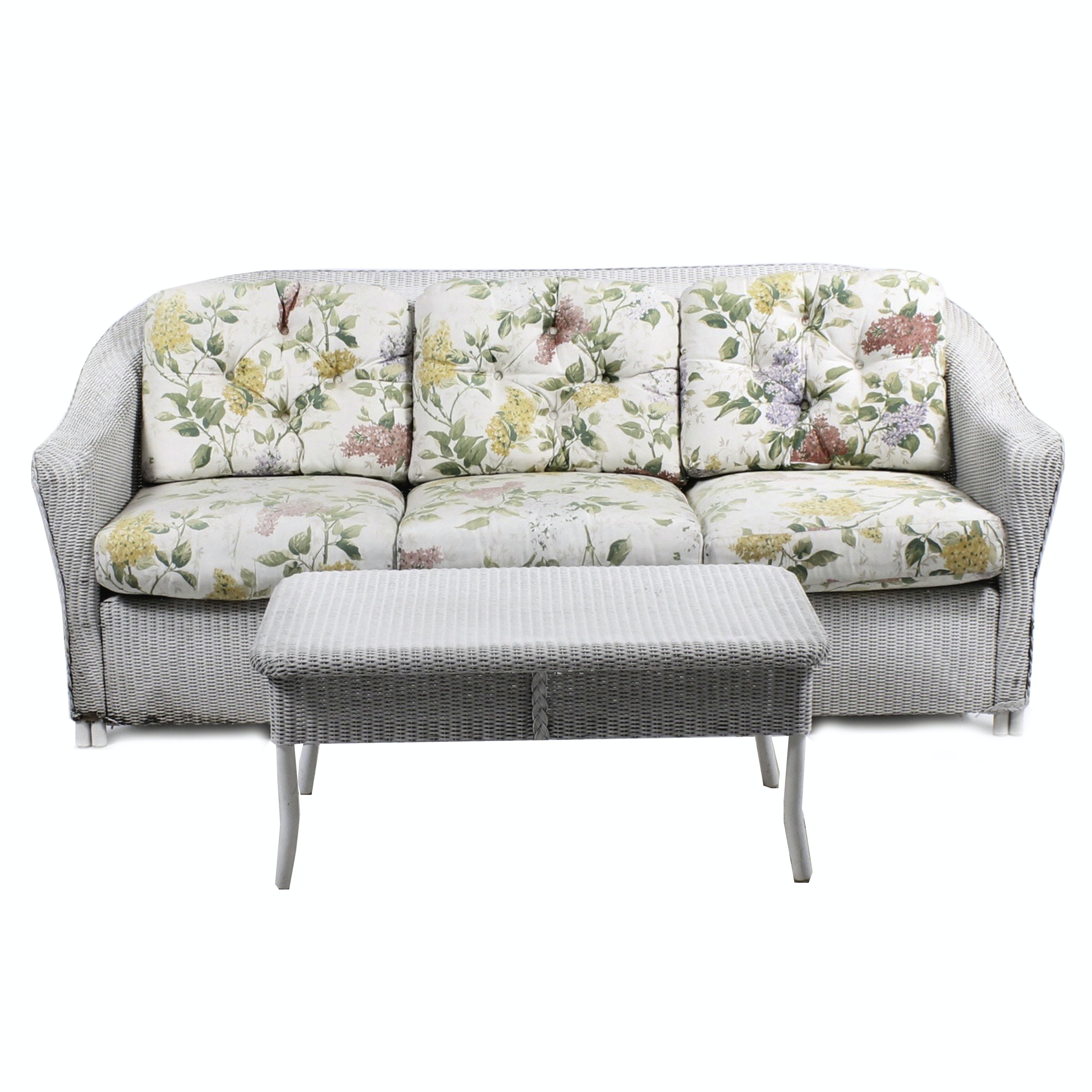 Vintage Lloyd Loom White Wicker Sofa and Coffee Table
