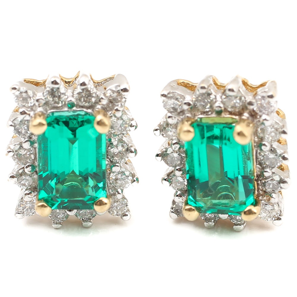 14K Yellow Gold 1.00 CTW Lab Created Emerald and Diamond Earrings