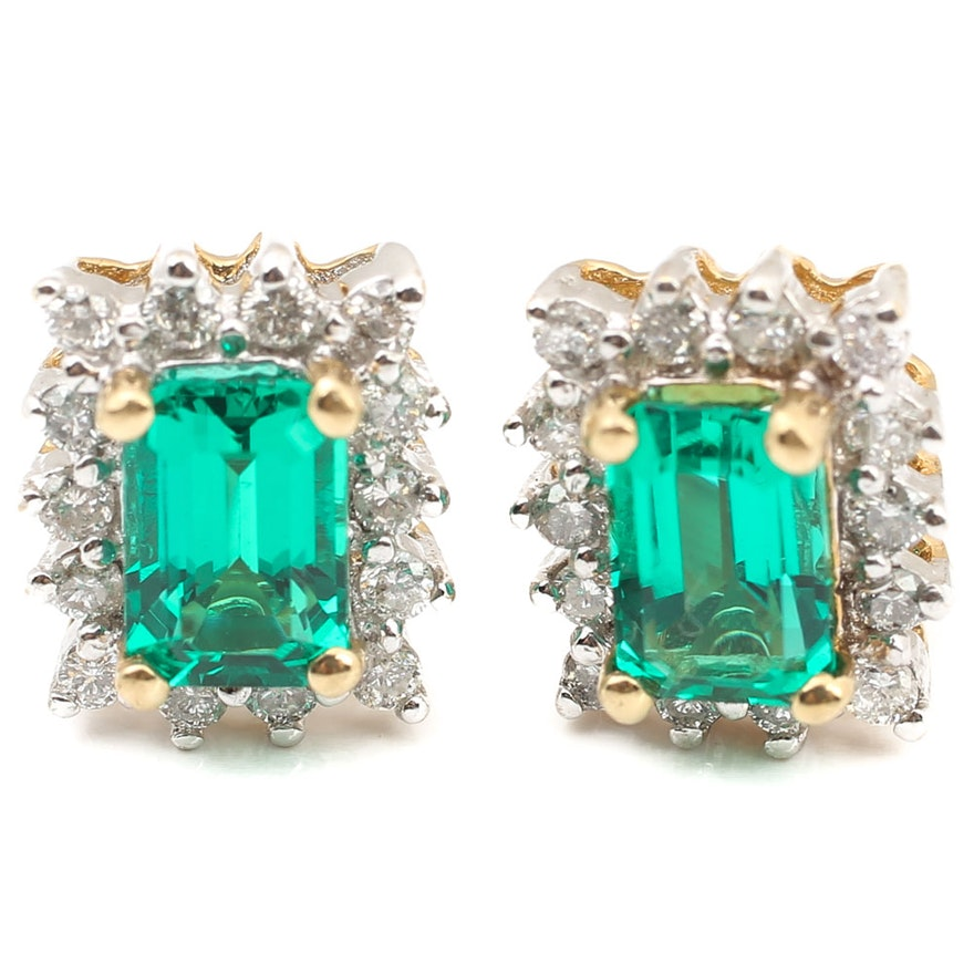 7ed90489598b7 14K Yellow Gold 1.00 CTW Lab Created Emerald and Diamond Earrings
