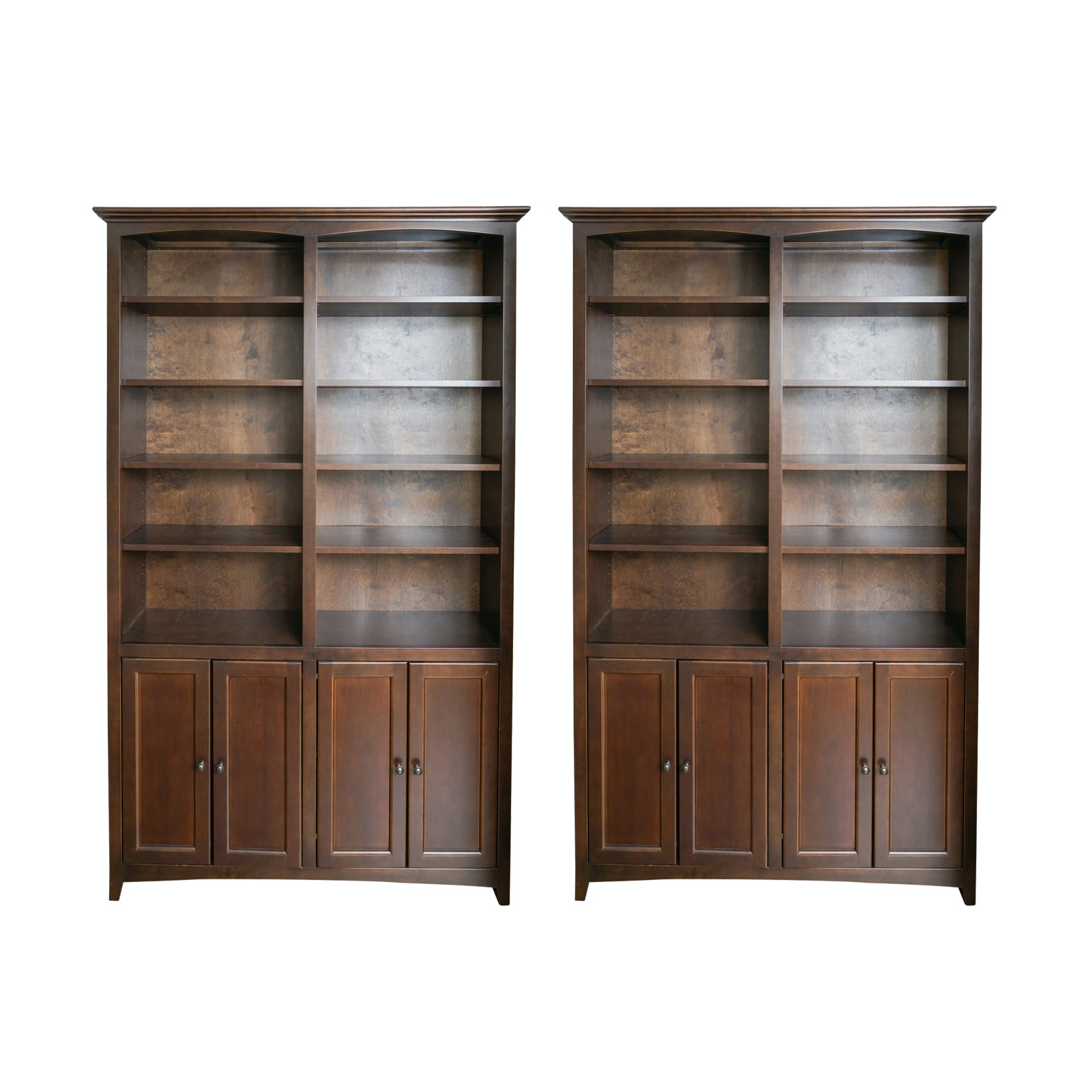Pair of Contemporary Wooden Bookcases by Whittier Furniture