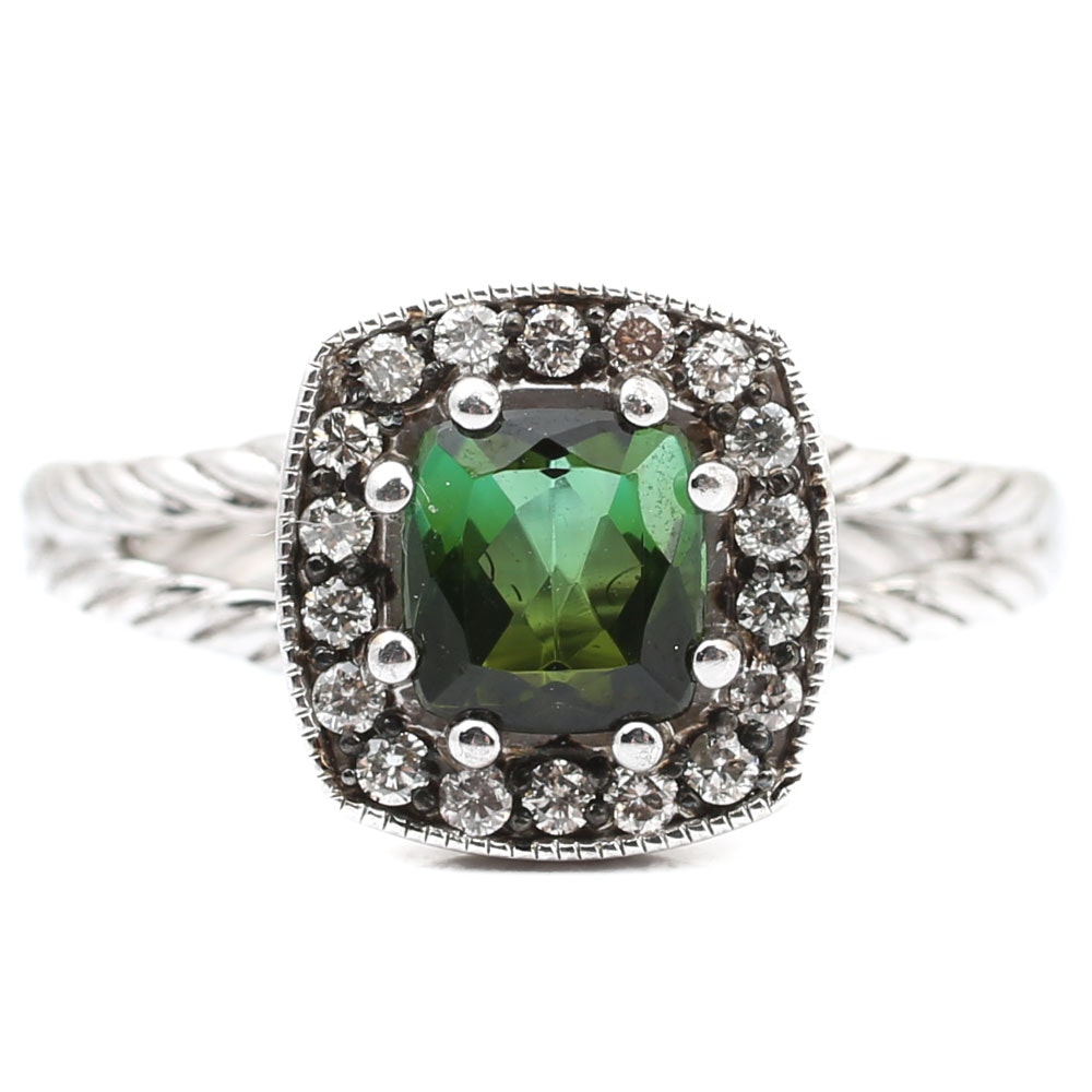 Sterling Silver Green Tourmaline and Diamond Halo Ring