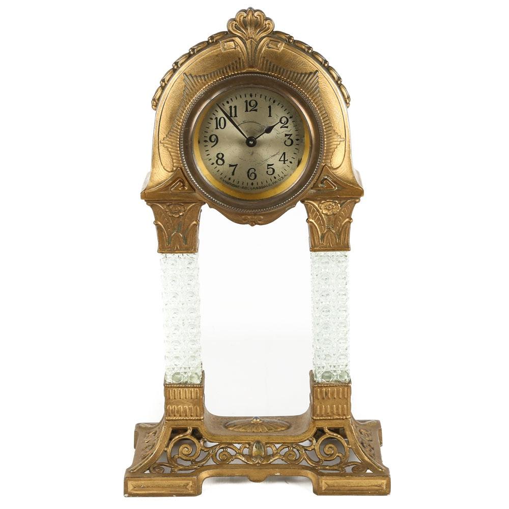 Vintage Fynetone Gilt Metal and Pressed Glass Mantel Clock
