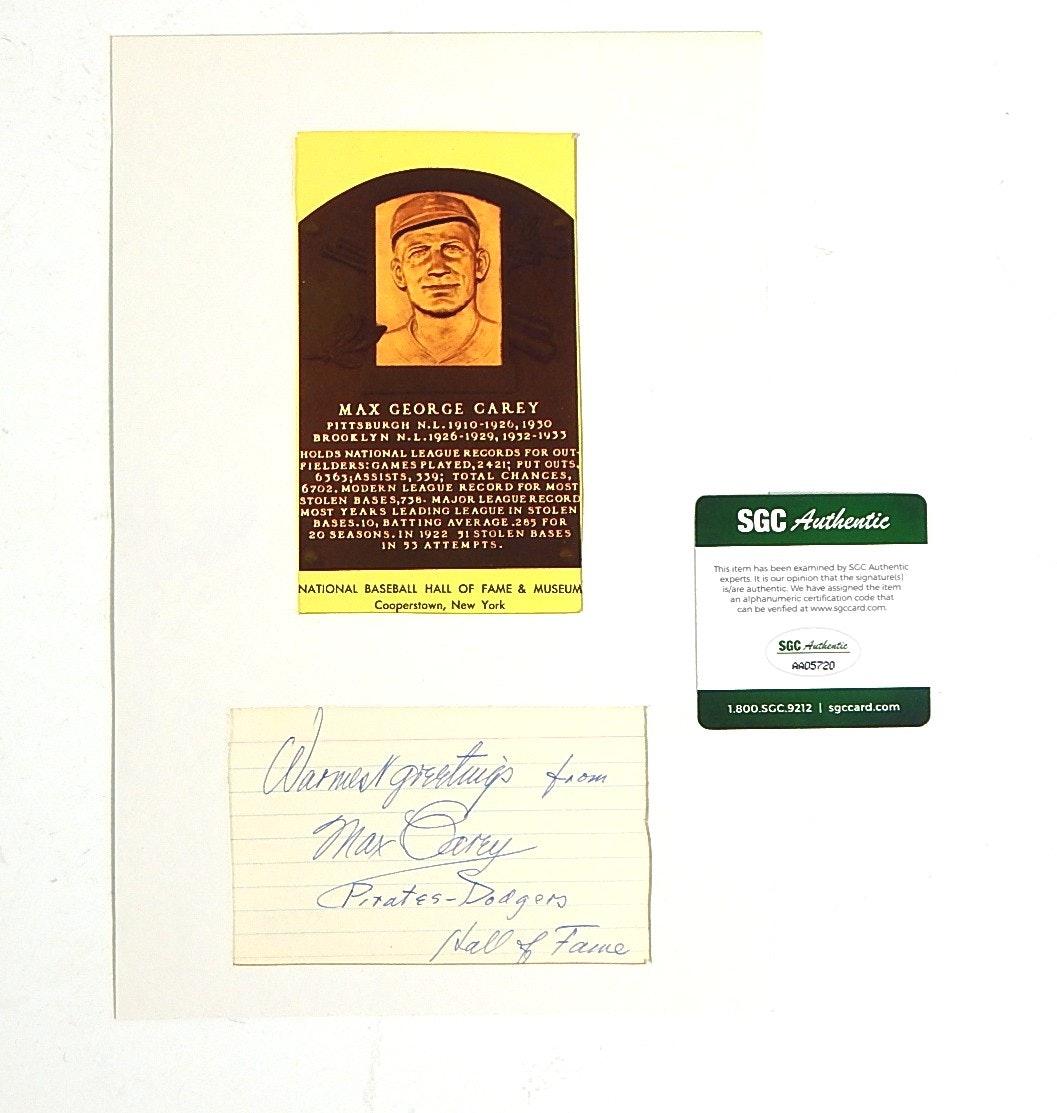 SGC Authenticated HOF Max George Carey Autograph