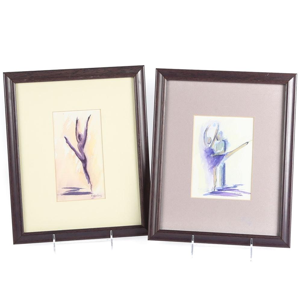 Carol Weisberg-Burgess Watercolors on Paper of Abstract Figures