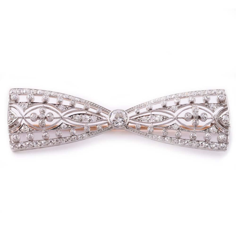 Vintage Platinum and Diamond Bow Brooch